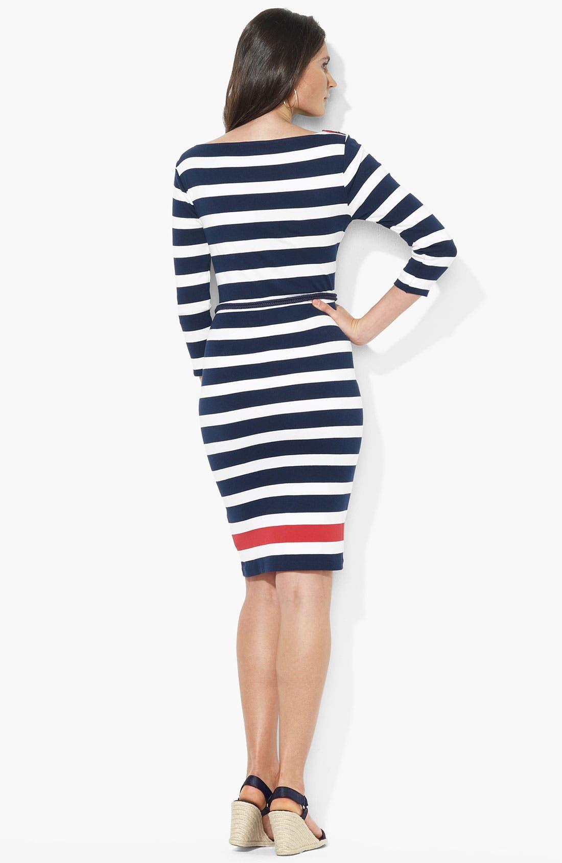 Button Shoulder Stripe Dress,                             Alternate thumbnail 2, color,                             Capri Navy/ White/ Cherry Red