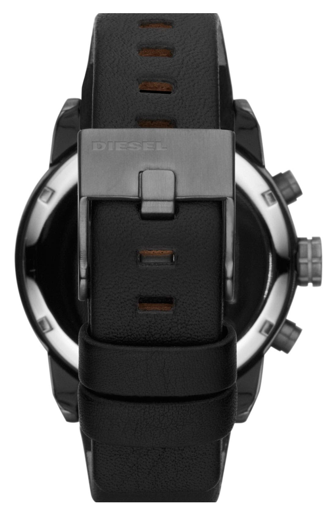 Alternate Image 3  - DIESEL® 'Franchise' Chronograph Leather Strap Watch, 42mm