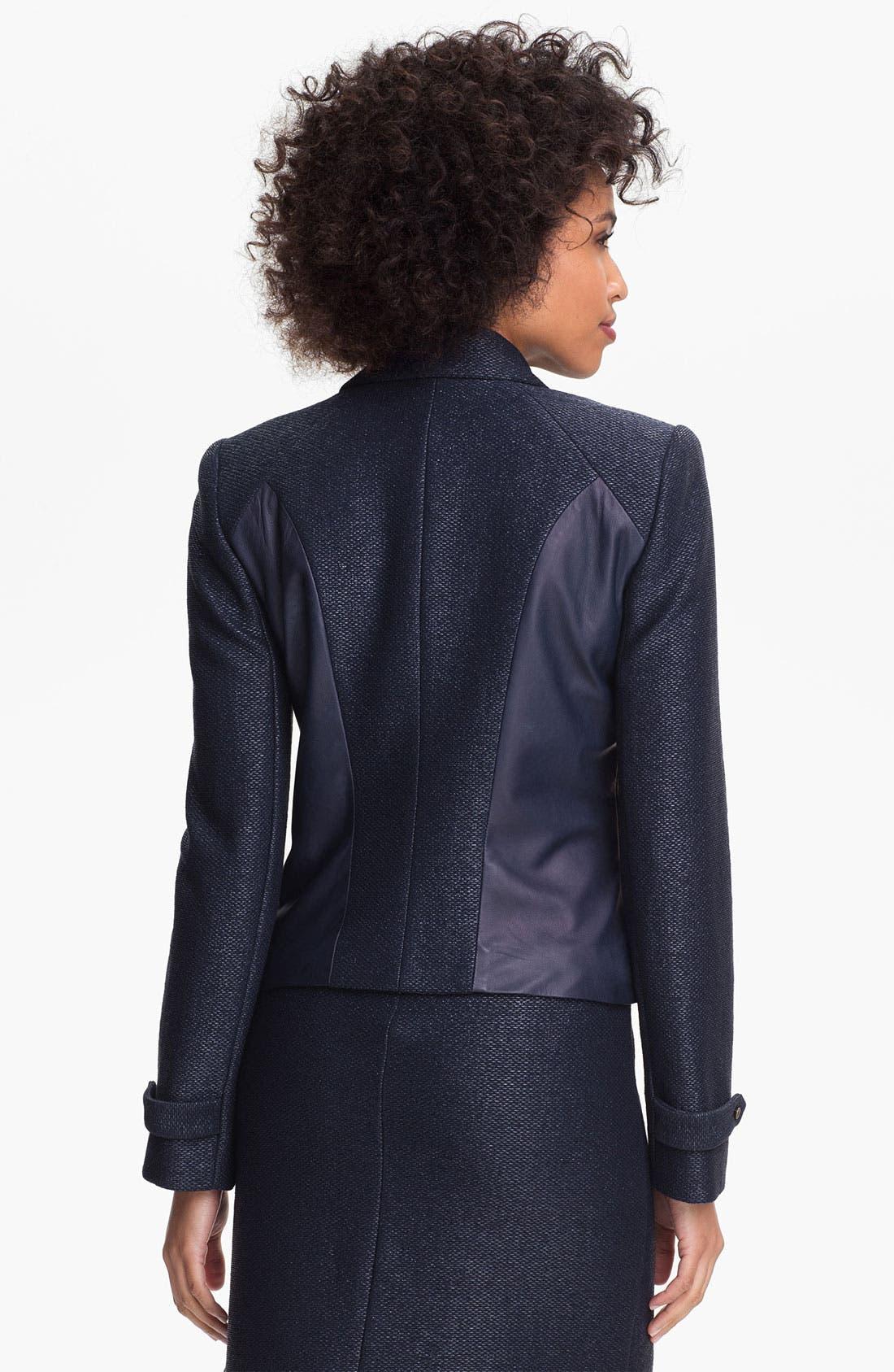 Alternate Image 2  - Nicole Miller Leather Detail Biker Jacket