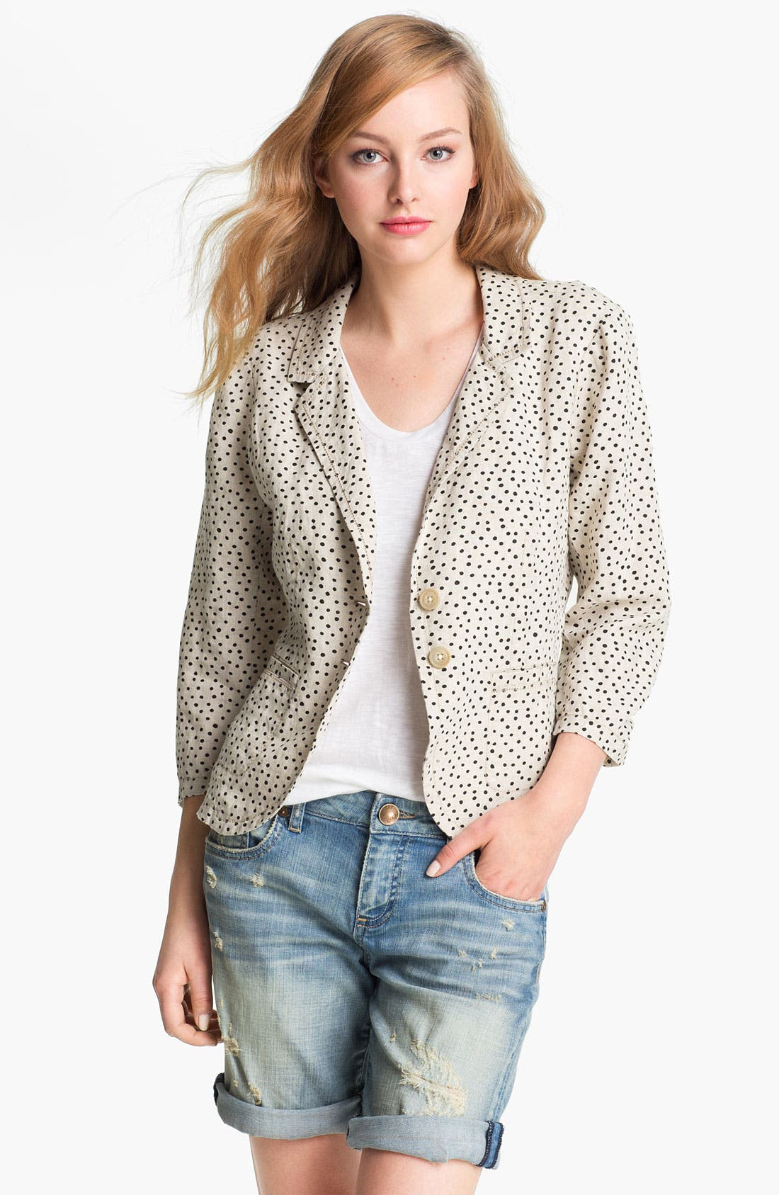 Alternate Image 1 Selected - Caslon® Two Button Linen Jacket (Regular & Petite)