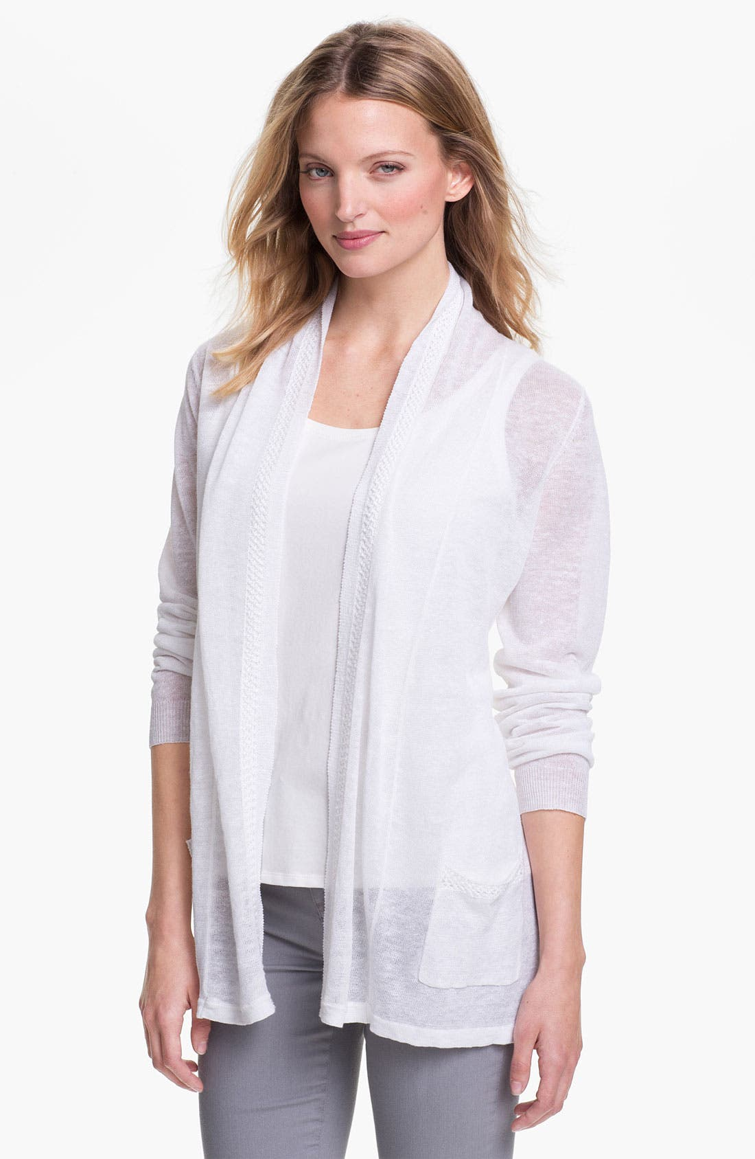 Alternate Image 1 Selected - Fever Open Front Linen Cardigan