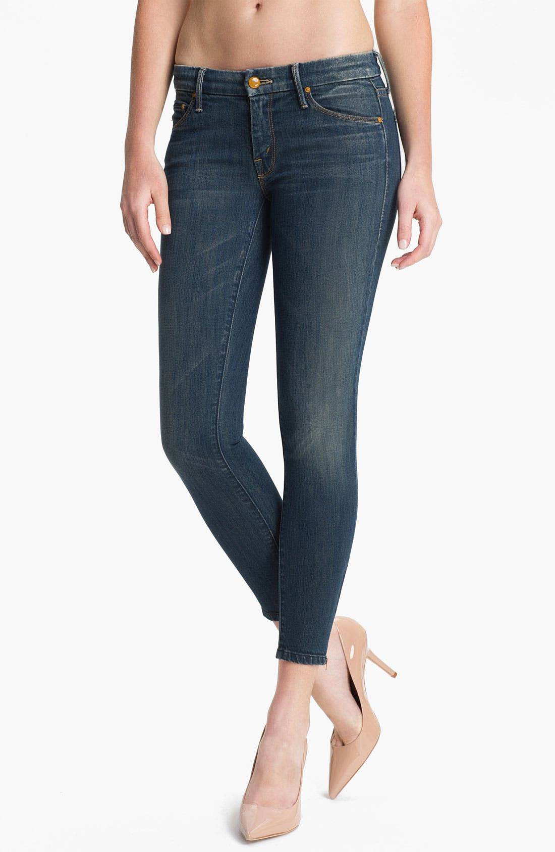 Main Image - MOTHER 'The Looker' Ankle Zip Skinny Jeans (Snake Eyes)