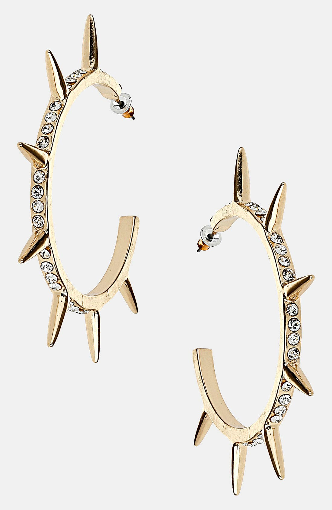 Main Image - Topshop 'Stone Spike' Hoop Earrings