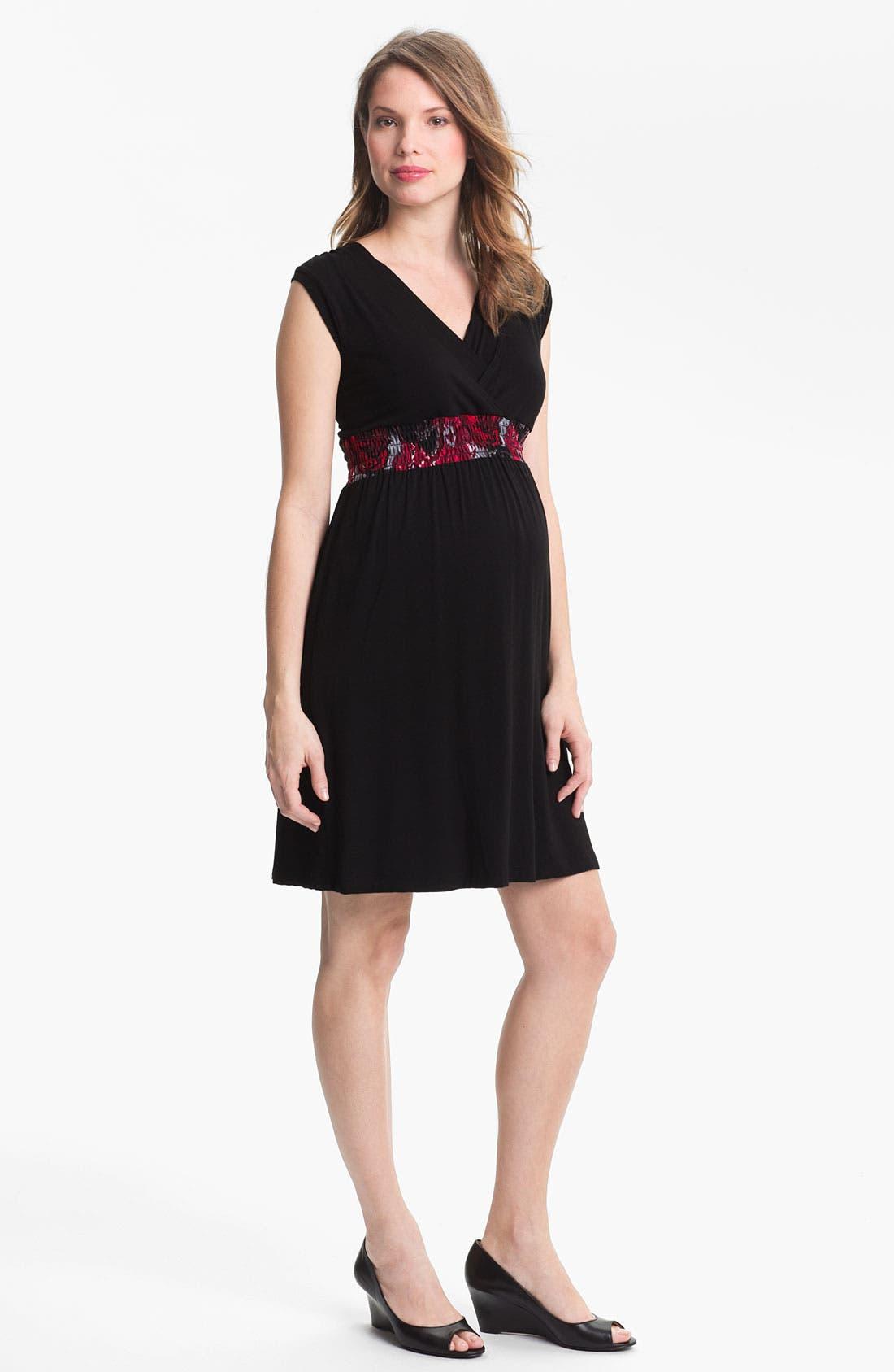 Shirred Empire Waist Maternity Dress,                         Main,                         color, Black