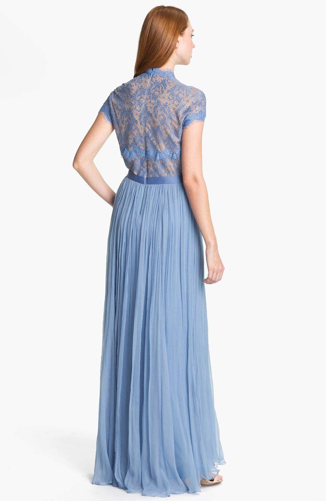 Alternate Image 2  - Tadashi Shoji Embellished Lace & Silk Chiffon Gown