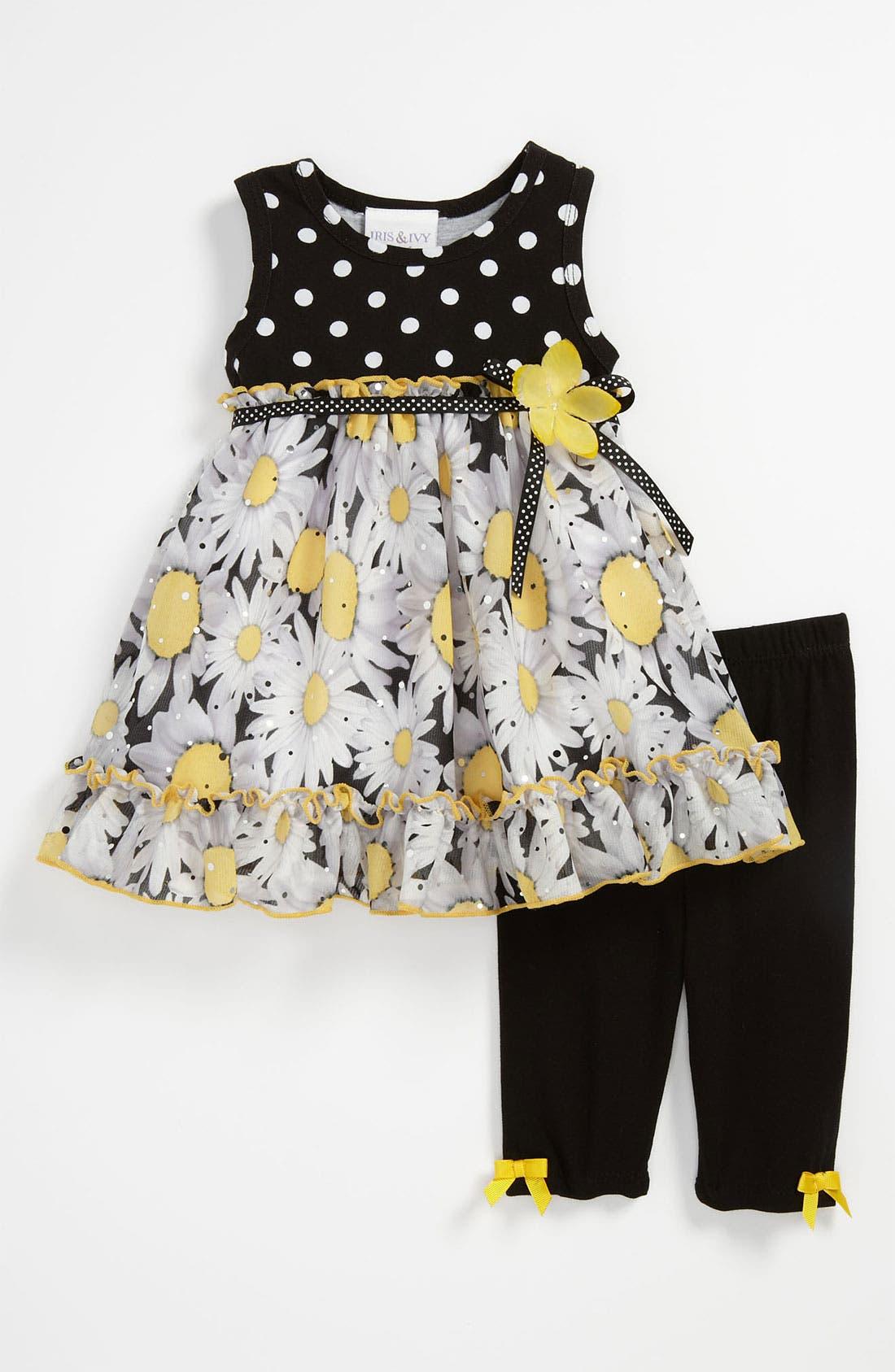 Alternate Image 1 Selected - Iris & Ivy 'Daisy' Dress & Leggings (Baby)