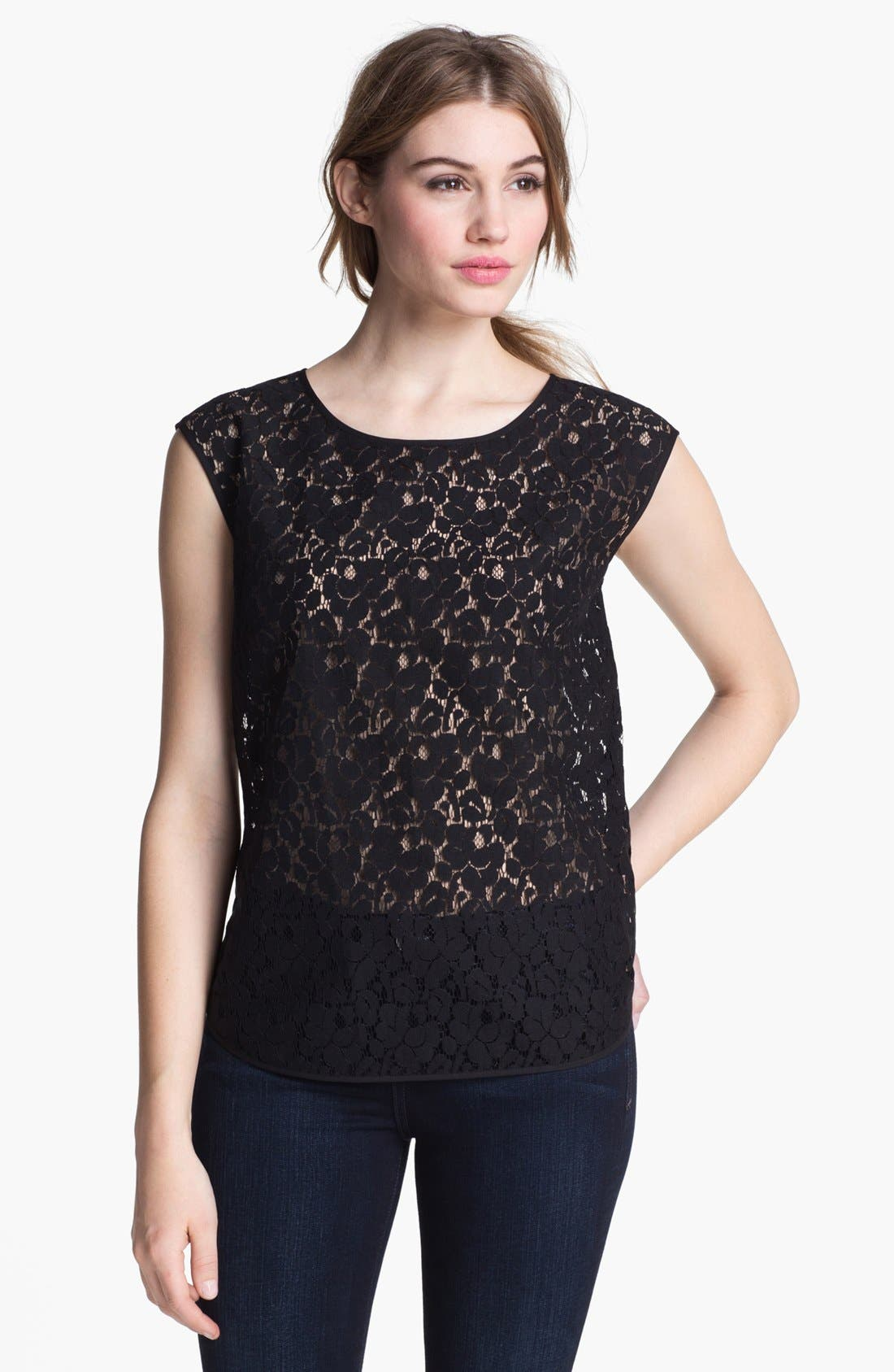 Alternate Image 1 Selected - Halogen® Cap Sleeve Lace Shell