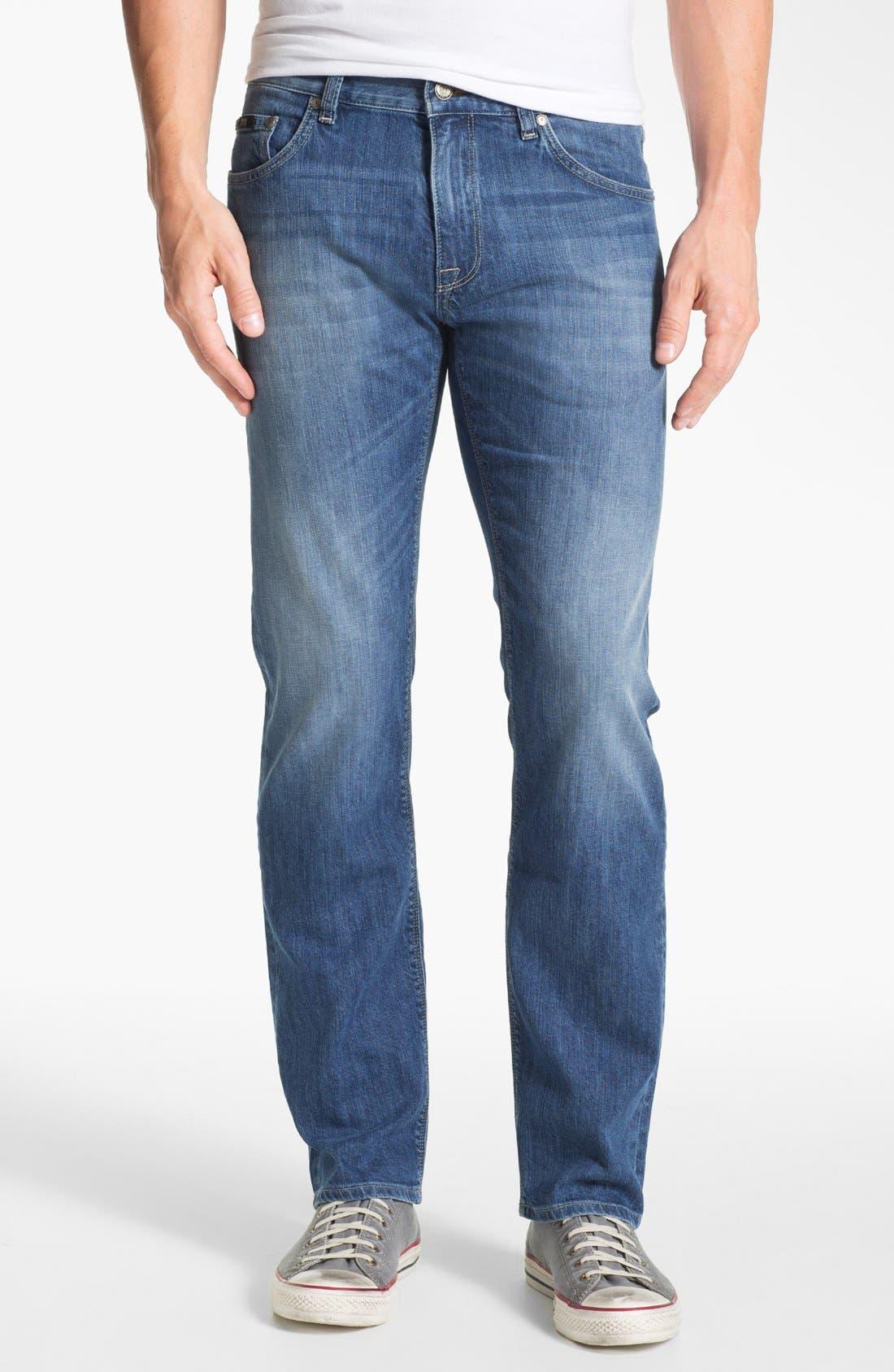 Main Image - BOSS HUGO BOSS 'Maine' Straight Leg Regular Fit Jeans (Dark Used)