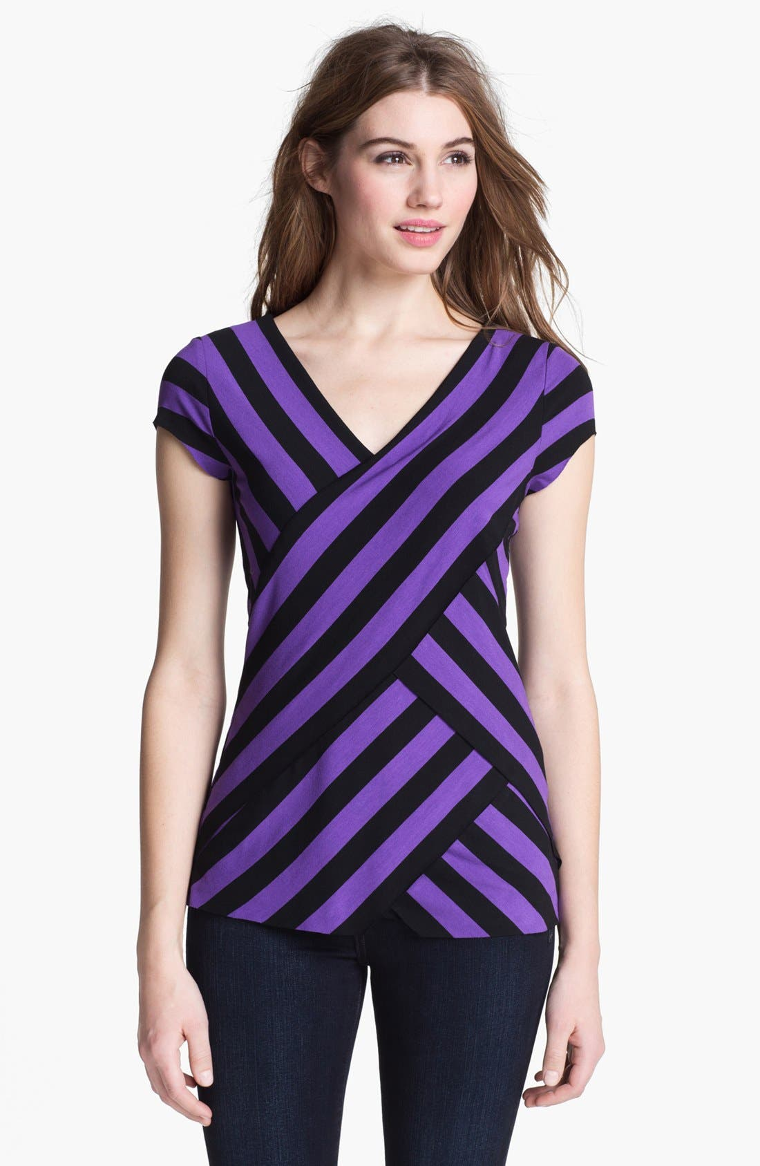 Alternate Image 1 Selected - Vince Camuto Tiered Stripe Top