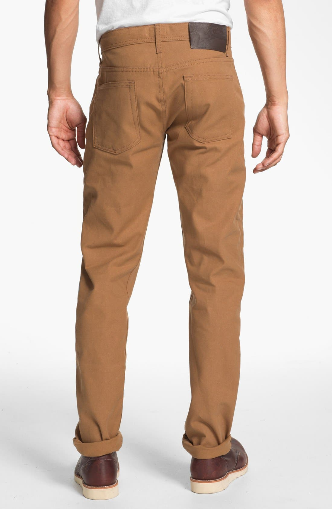 Alternate Image 2  - Naked & Famous Denim Weird Guy Slim Selvedge Duck Canvas Jeans (Vintage Brown Khaki)