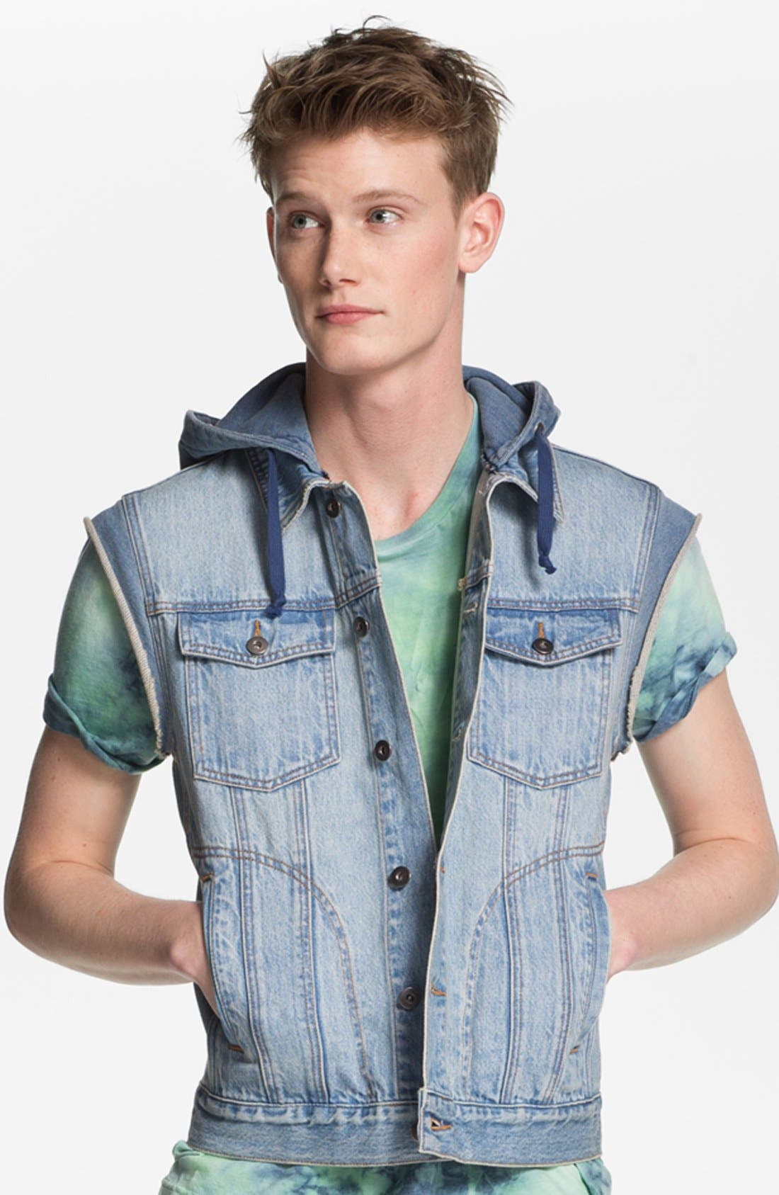 Main Image - Topman Hooded Denim Vest
