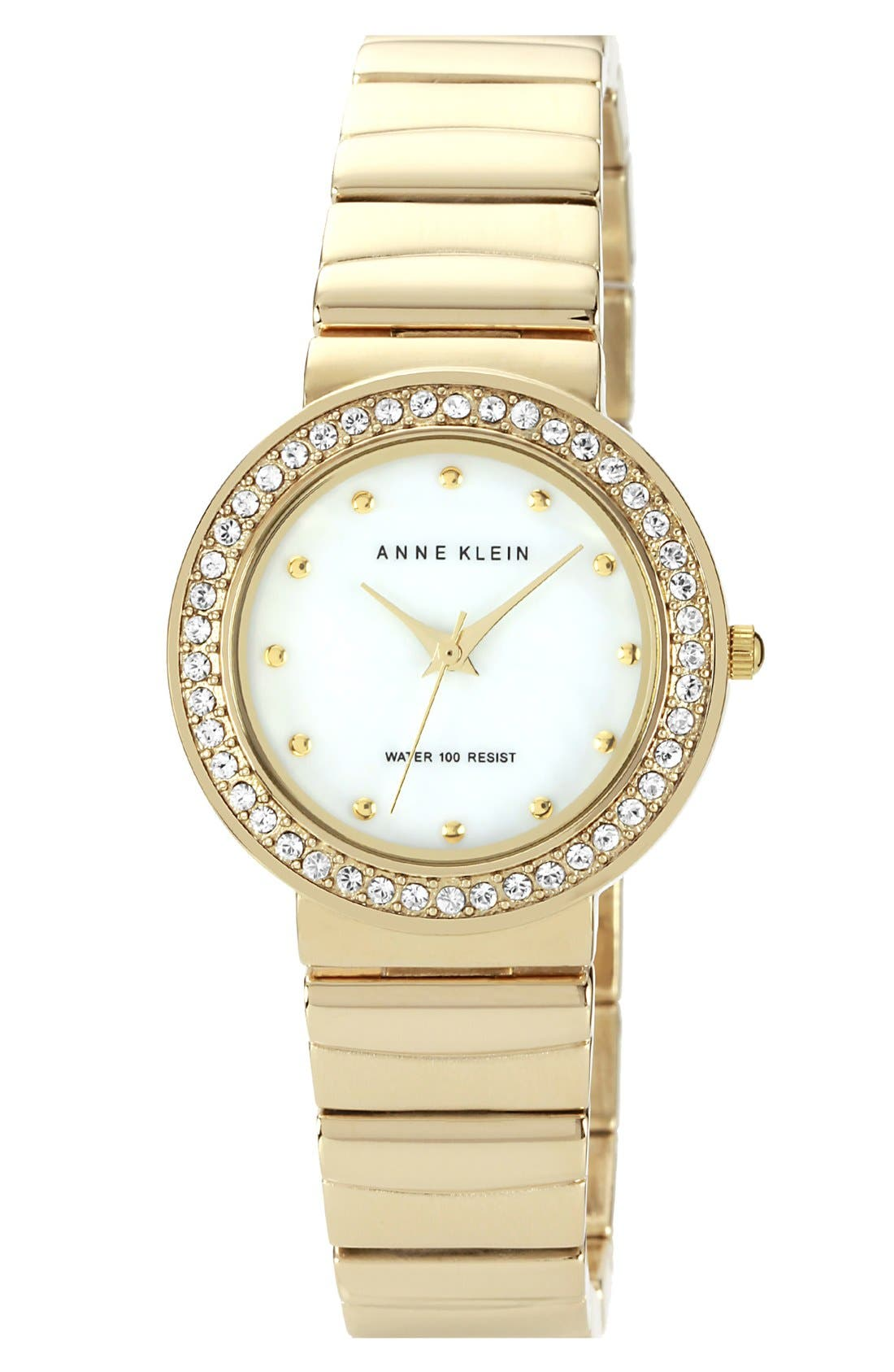 Alternate Image 1 Selected - Anne Klein Crystal Bezel Bracelet Watch, 30mm
