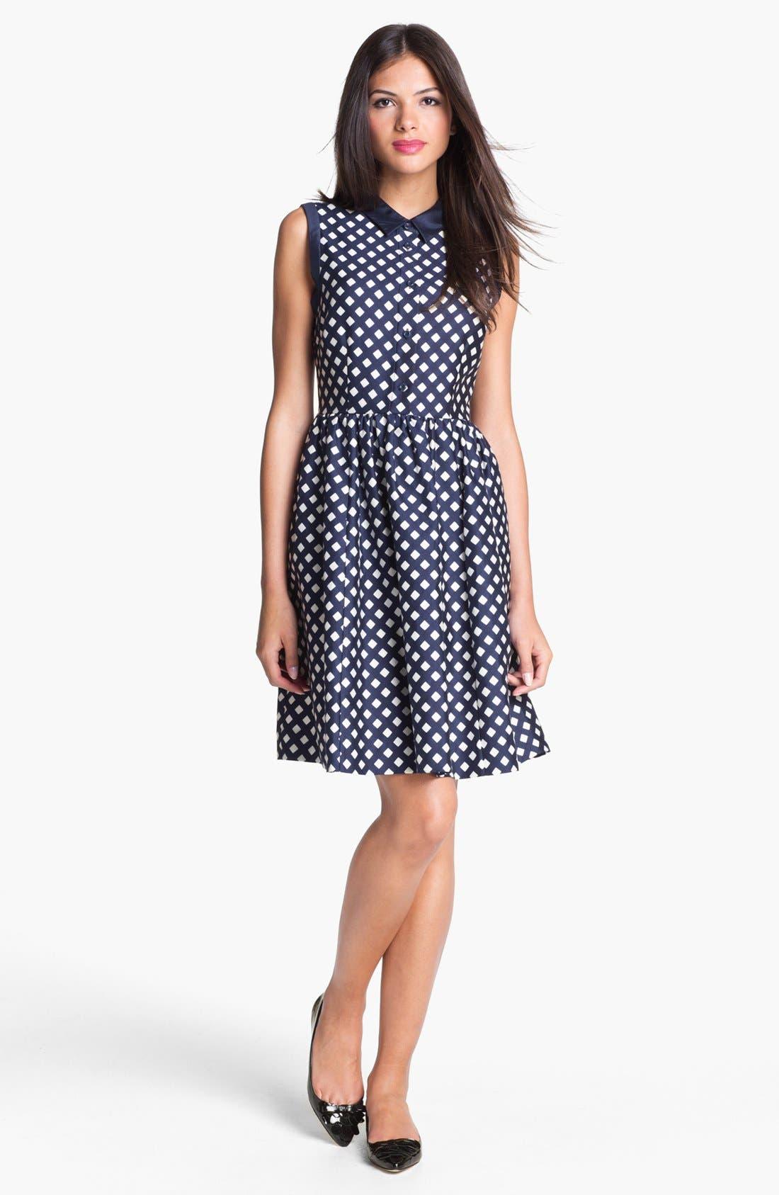 Alternate Image 1 Selected - kate spade new york 'addison' cotton blend fit & flare dress