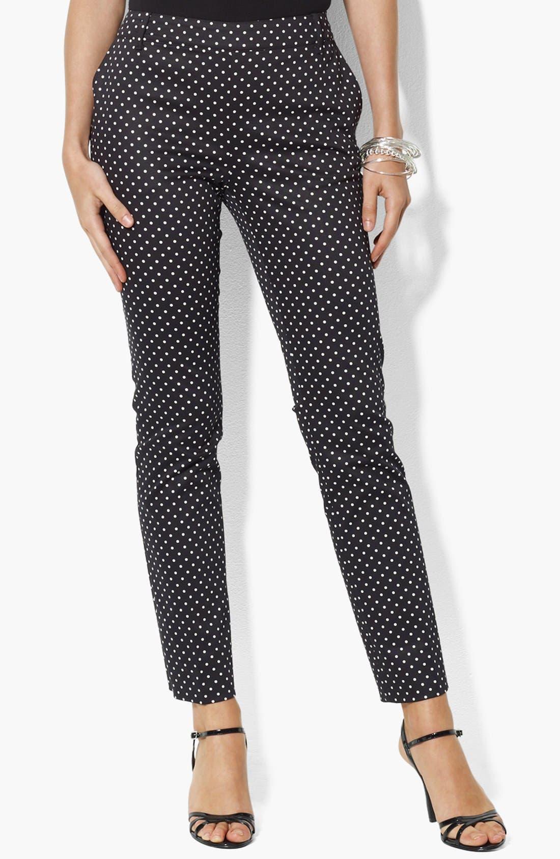 Alternate Image 1 Selected - Lauren Ralph Lauren Dot Print Ankle Pants (Petite)