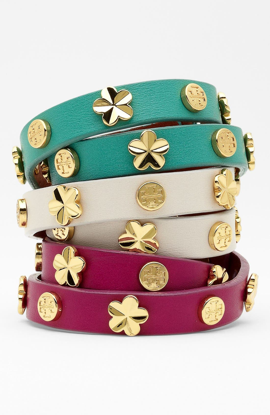 Alternate Image 1 Selected - Tory Burch Stud Leather Wrap Bracelet
