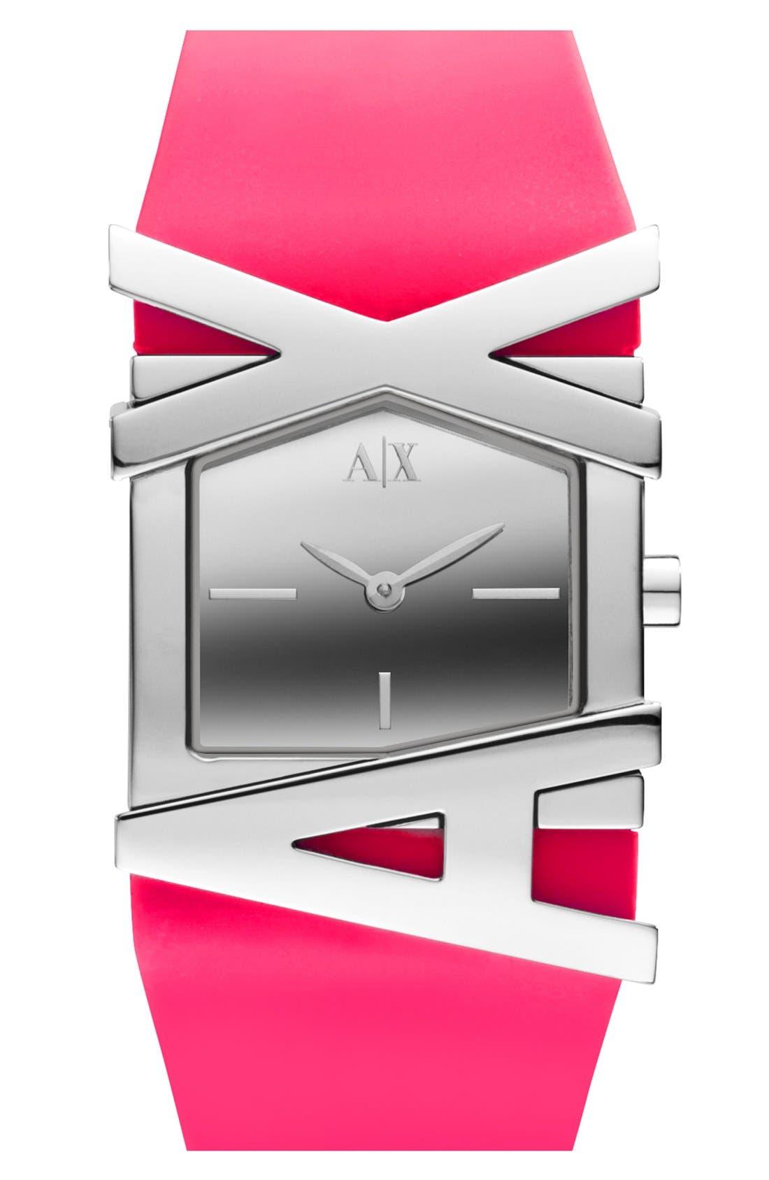 Alternate Image 1 Selected - AX Armani Exchange Logo Watch, 39mm x 28mm