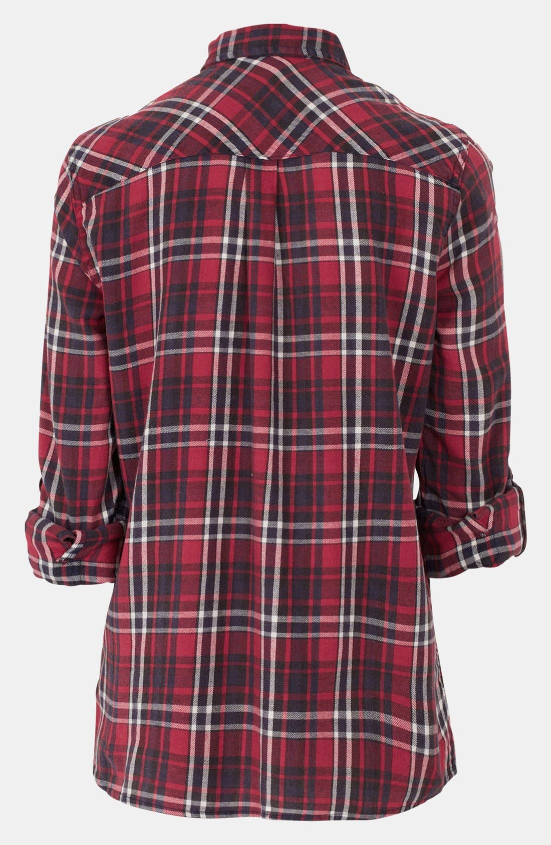 Alternate Image 2  - Topshop Red Check Maternity Shirt