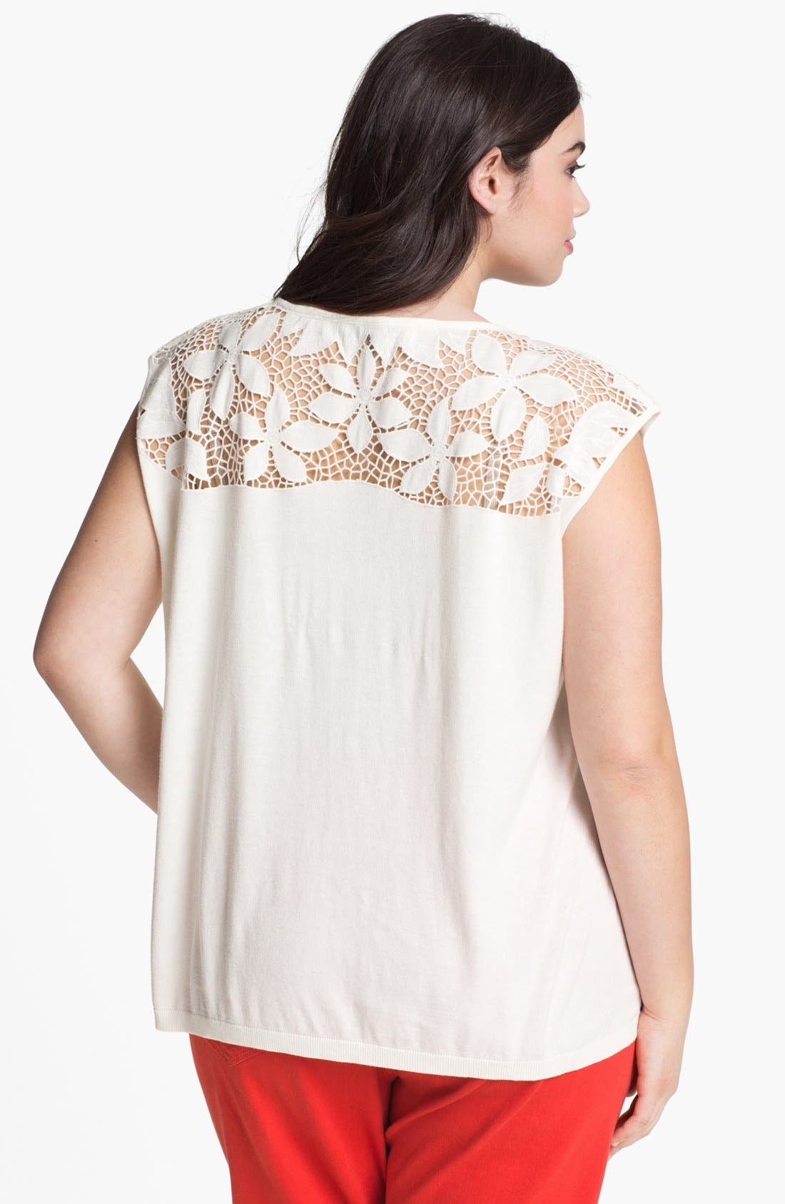 Alternate Image 2  - DKNYC Lace Yoke Top (Plus Size)