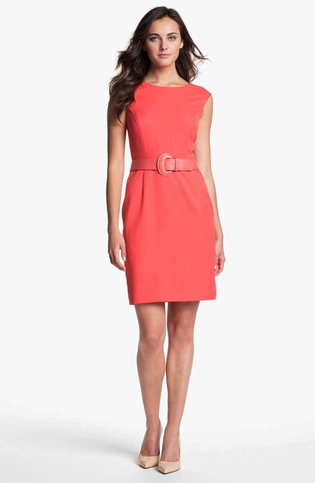 Alternate Image 1 Selected - Ellen Tracy Cap Sleeve Twill Sheath Dress