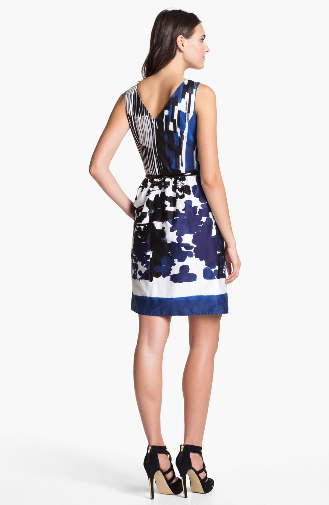 Alternate Image 2  - Ellen Tracy Print Cotton Fit & Flare Dress