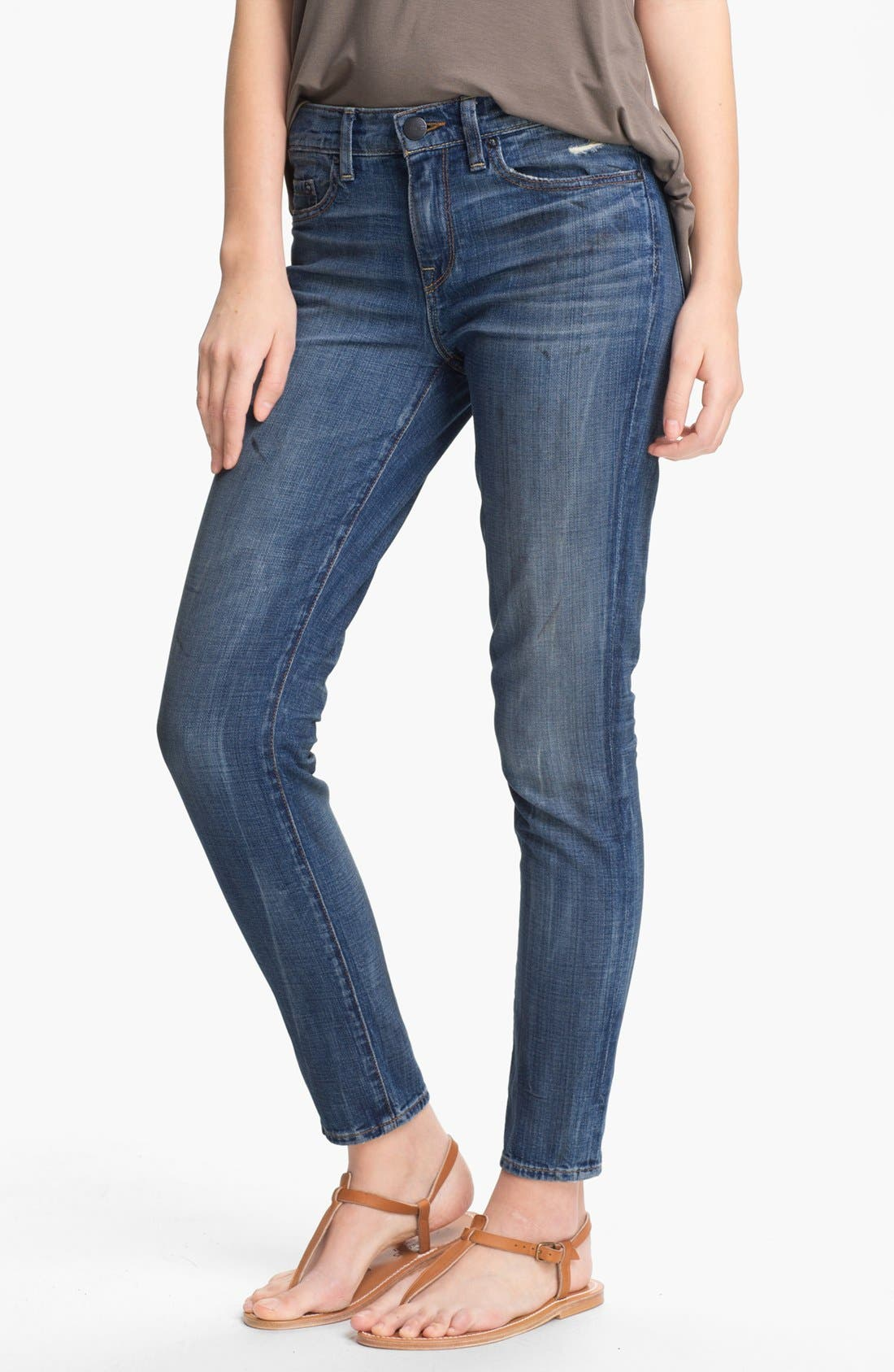 Alternate Image 1 Selected - Vince Relaxed Stretch Ankle Jeans (Light Worn In)