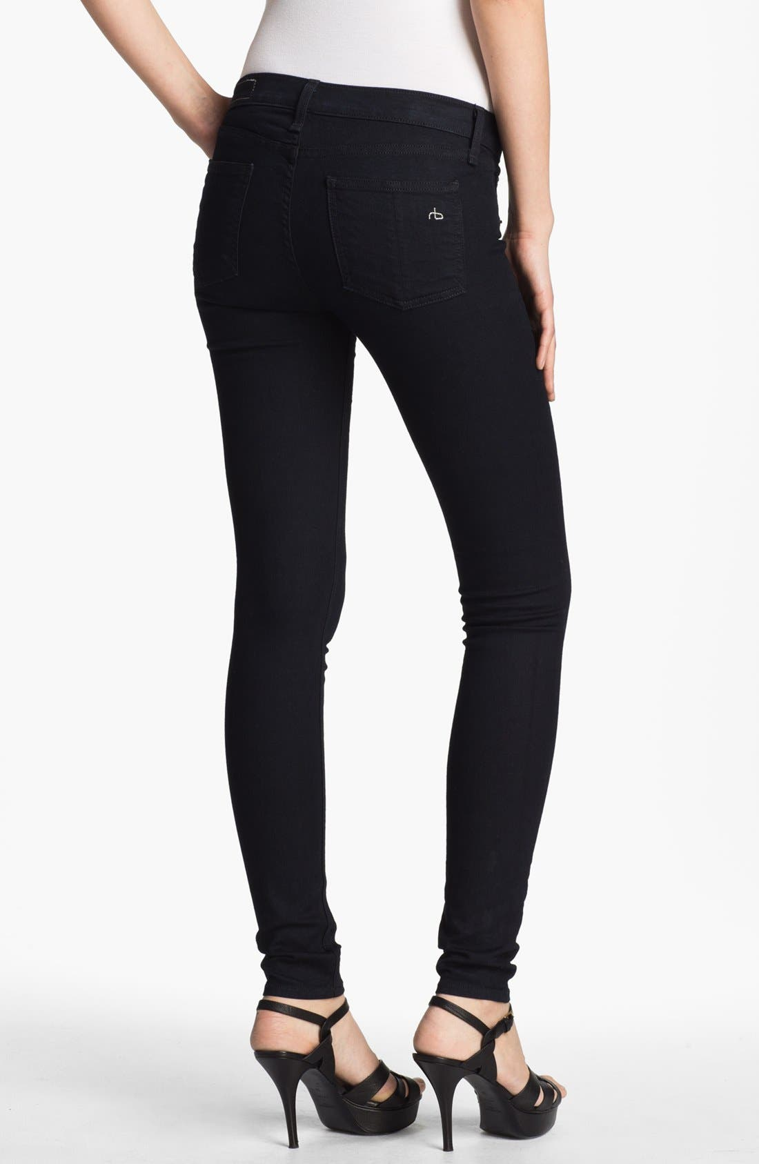 JEAN 'The Legging' Stretch Denim Leggings,                             Alternate thumbnail 3, color,                             Midnight