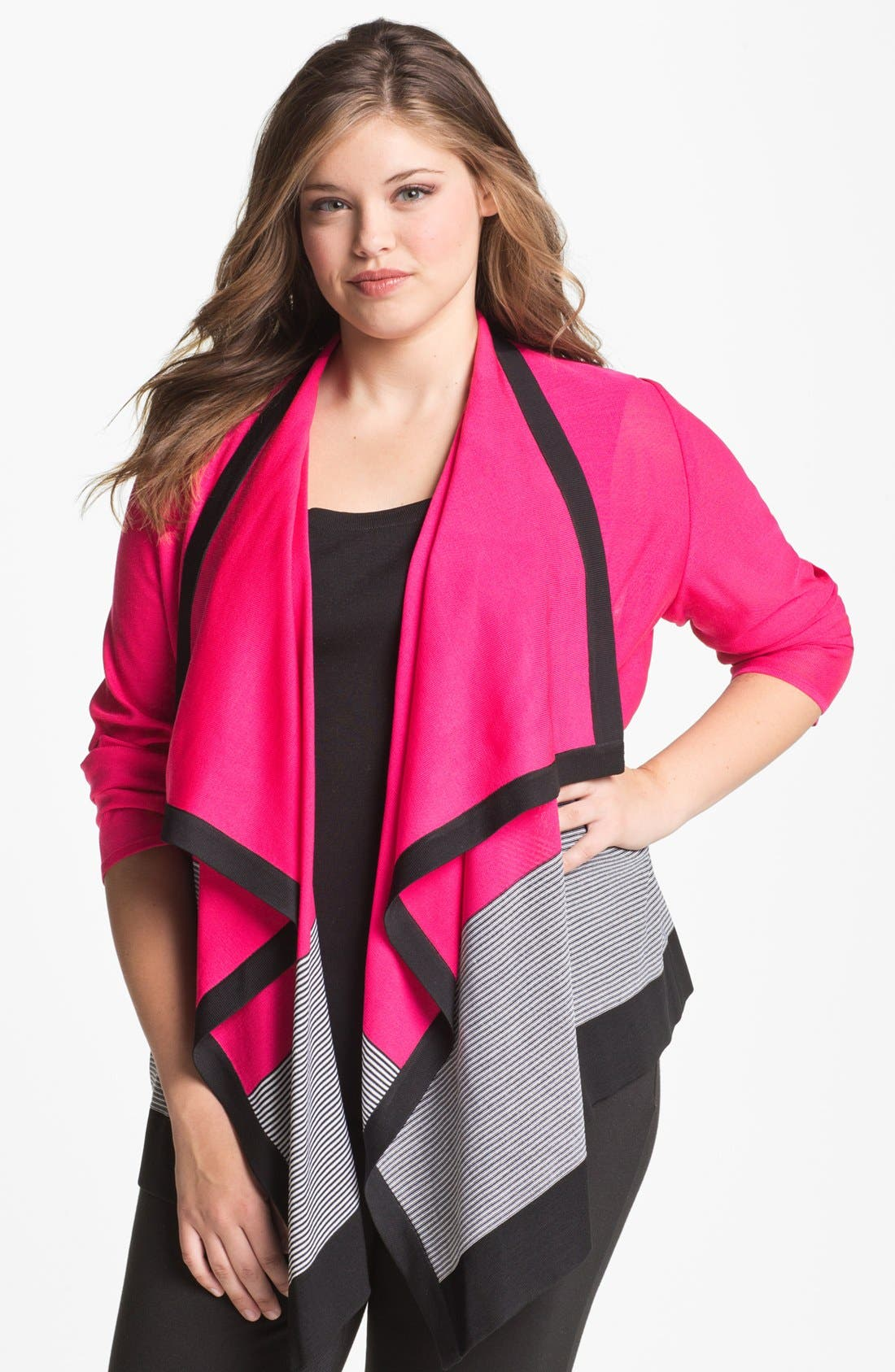Alternate Image 1 Selected - Exclusively Misook 'Jenny' Drape Front Cardigan (Plus Size)