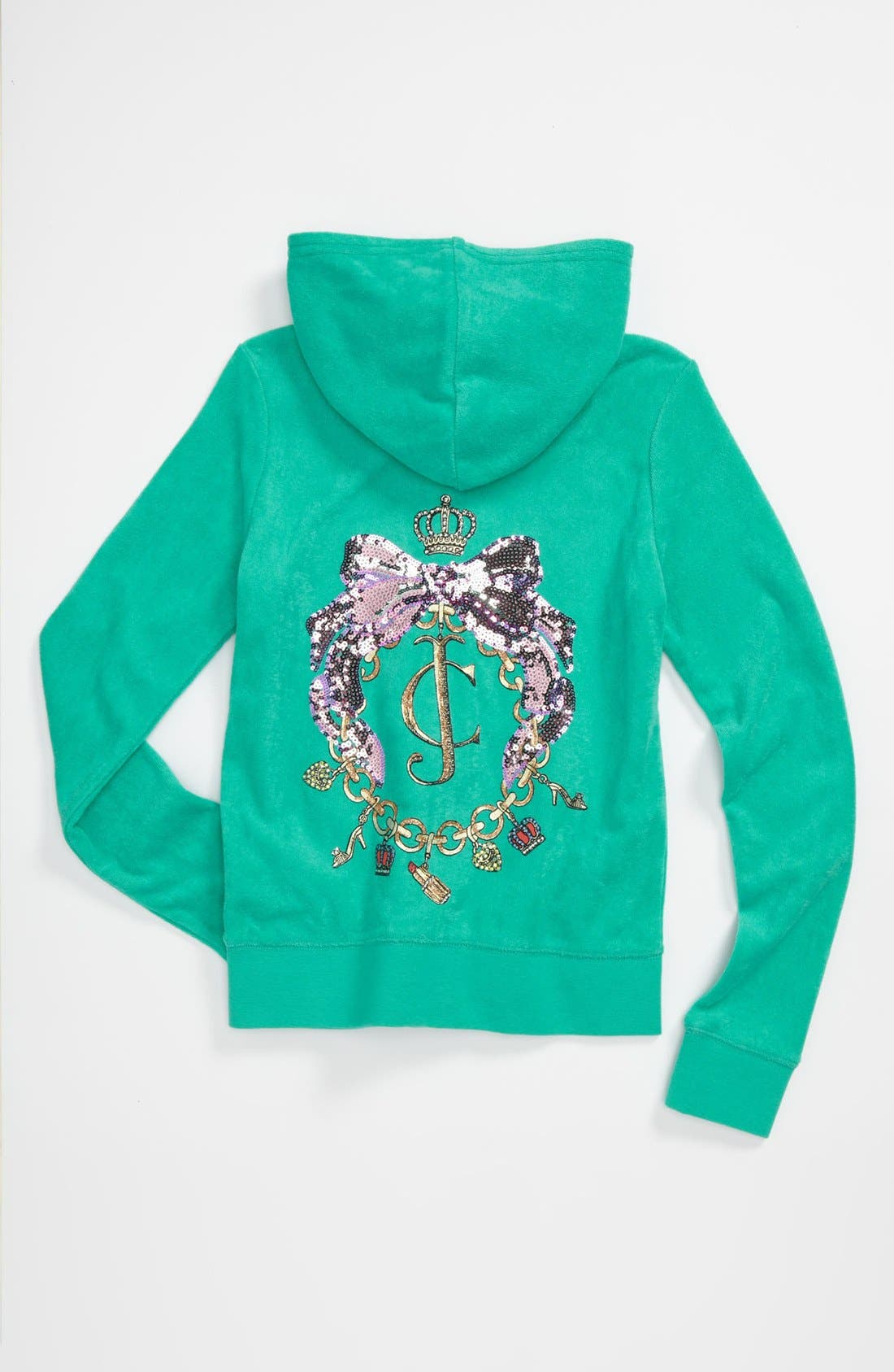 Alternate Image 1 Selected - Juicy Couture 'Charm Necklace' Hoodie (Big Girls)