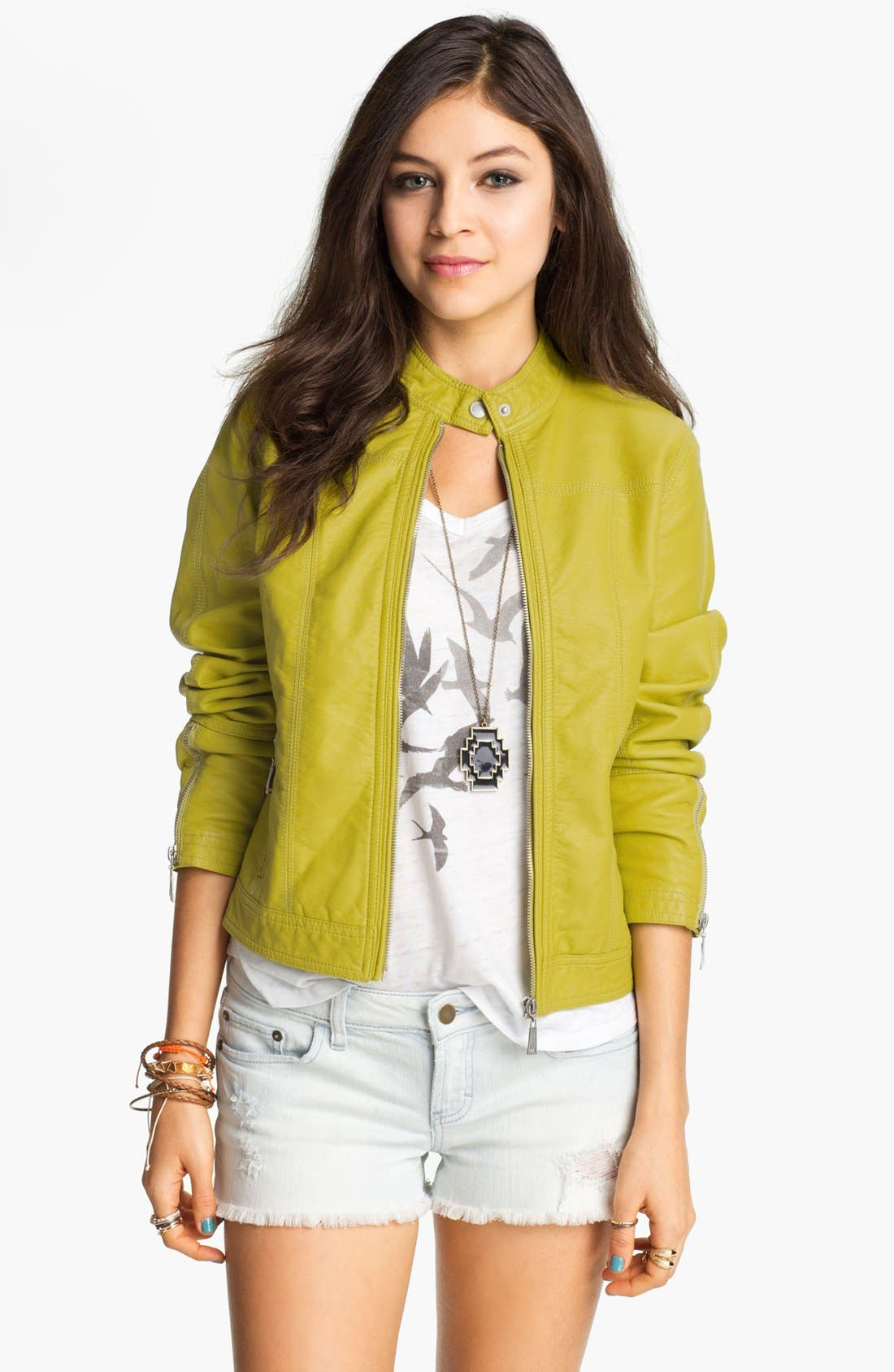 Alternate Image 1 Selected - Jou Jou Faux Leather Moto Jacket (Juniors) (Online Only)
