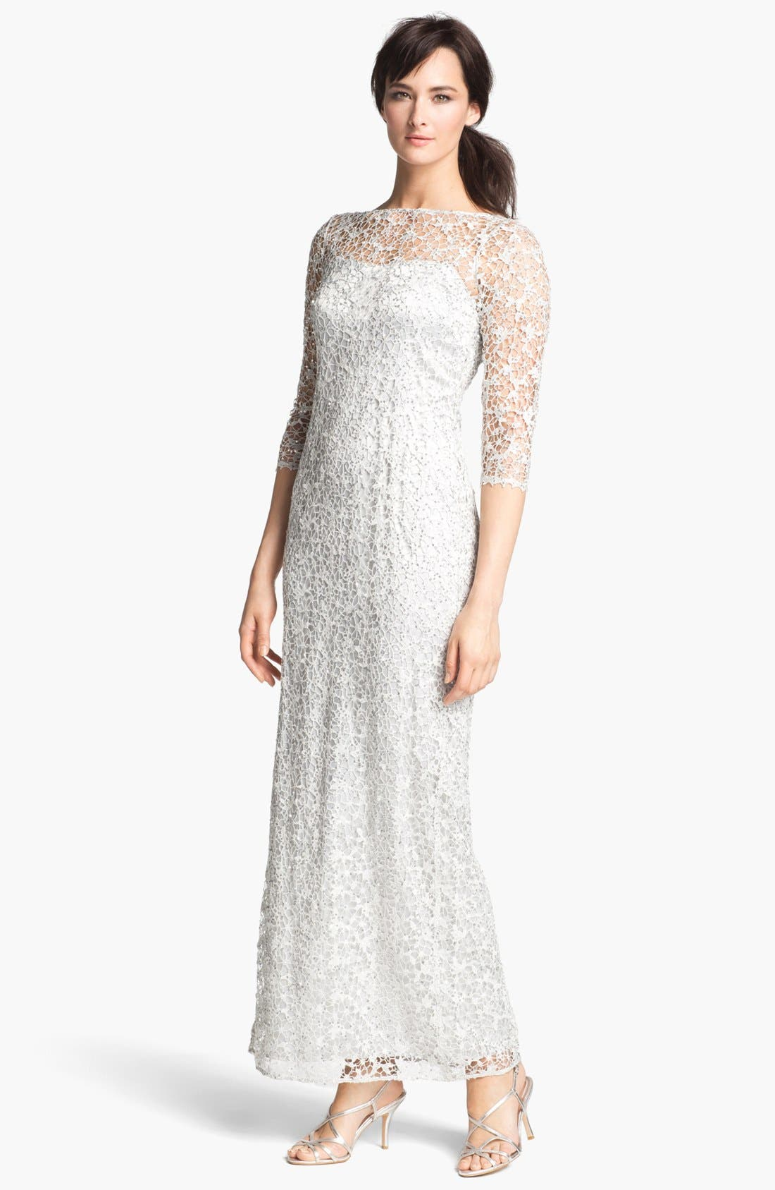 Alternate Image 1 Selected - Kay Unger Embellished Illusion Neck Lace Gown