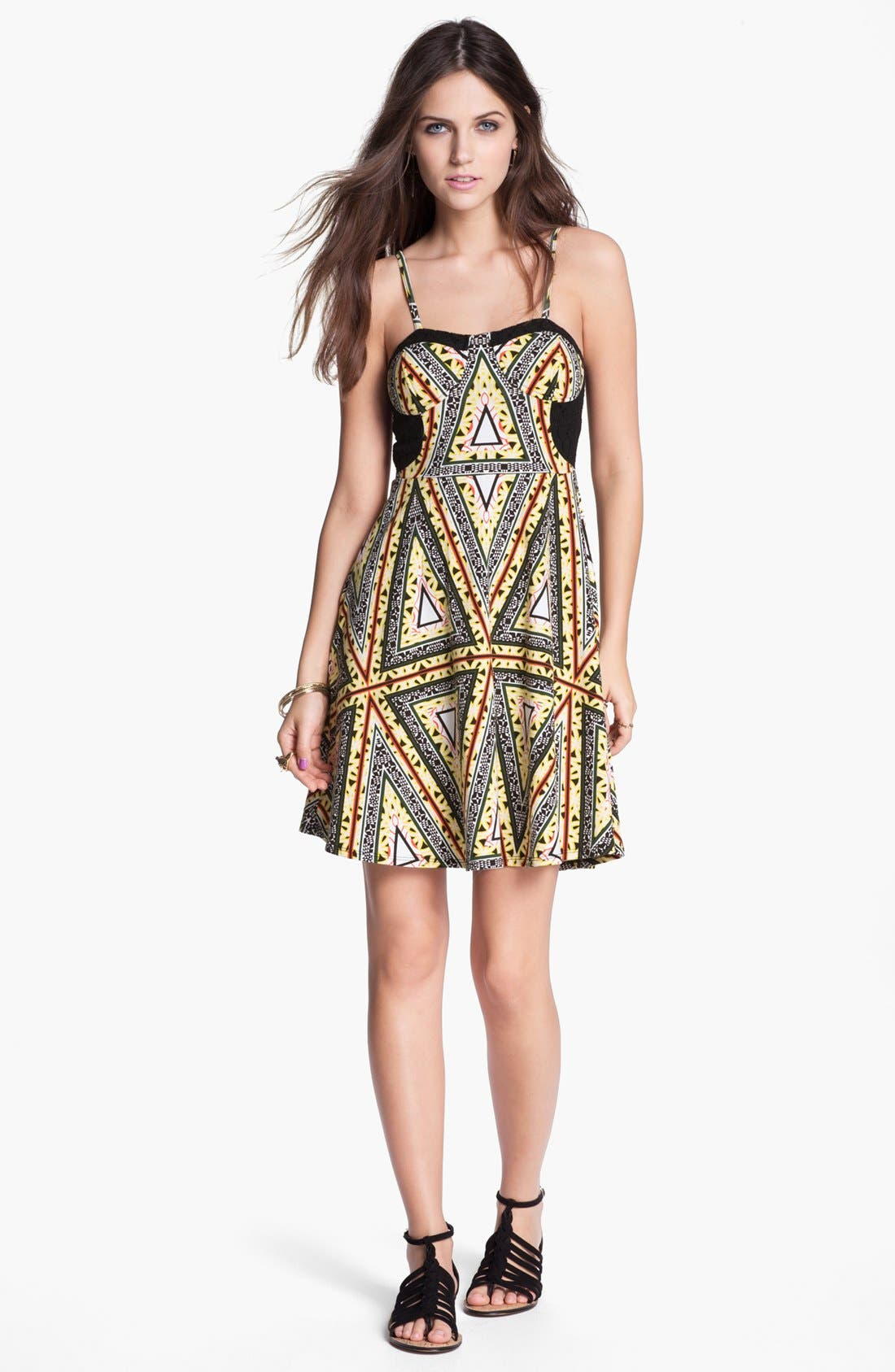 Main Image - Fire Desert Print Bustier Dress (Juniors)