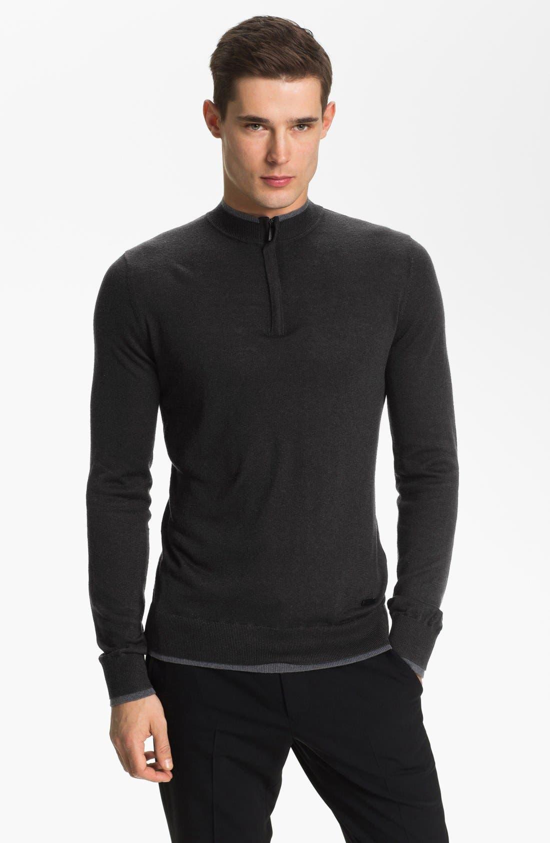 Main Image - Armani Collezioni Quarter Zip Sweater