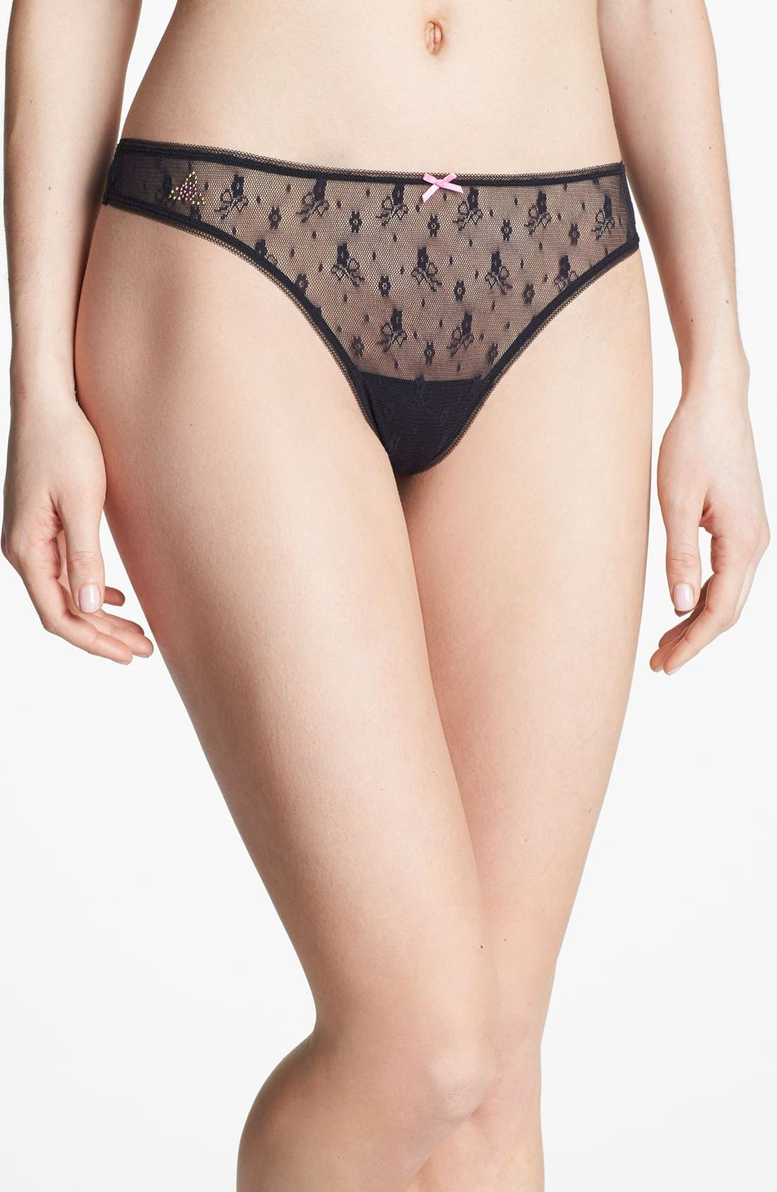 Main Image - Betsey Johnson 'Chantilly - Helenca' Lace Thong (3 for $27)