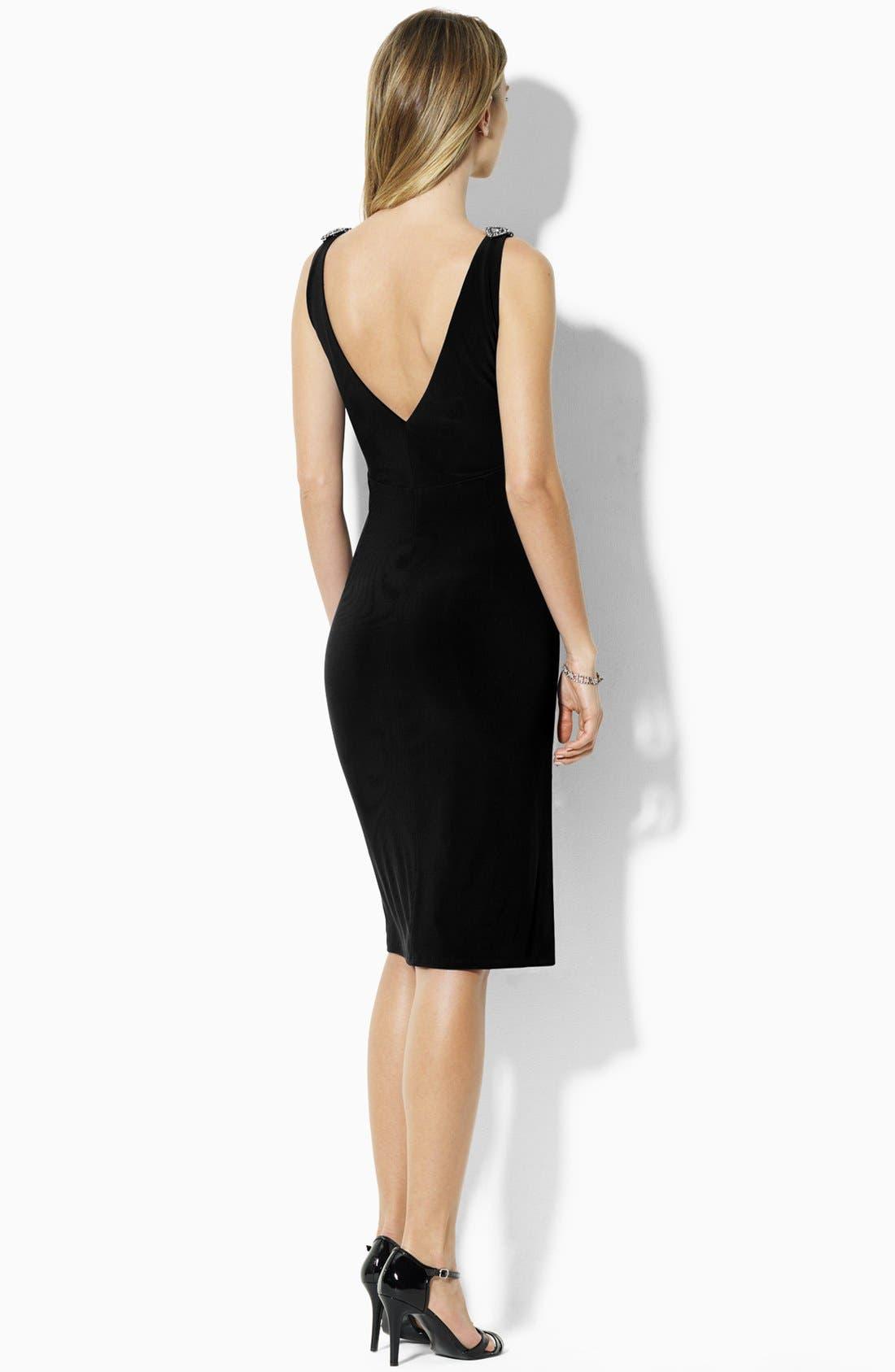 Alternate Image 2  - Lauren Ralph Lauren Embellished Sleeveless Jersey Dress (Petite)