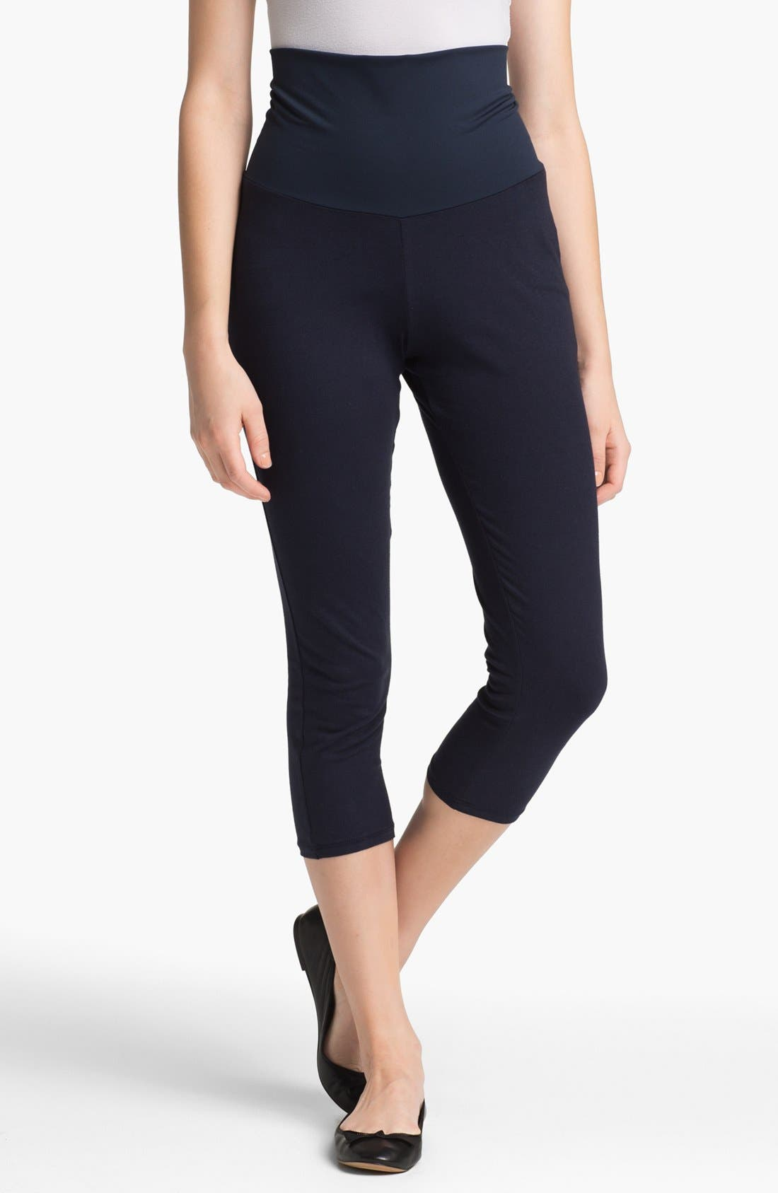 Post Support Crop Maternity Leggings,                         Main,                         color, Navy