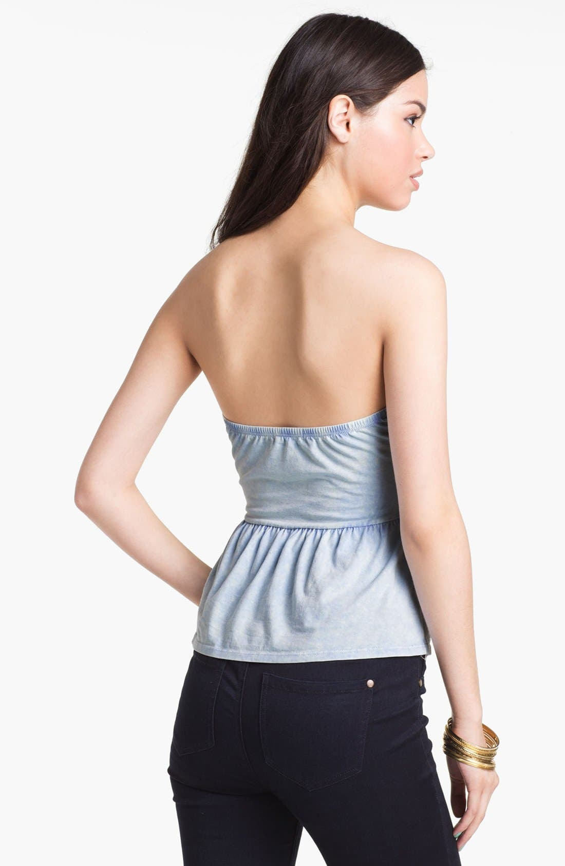 Strapless Peplum Top,                             Alternate thumbnail 2, color,                             Acid Wash