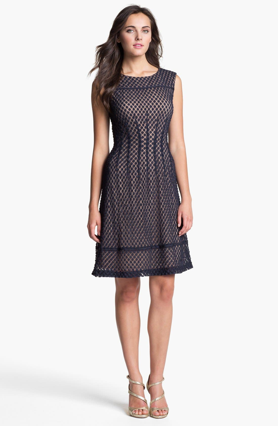 Alternate Image 2  - Adrianna Papell Sleeveless Dot Lace Shift Dress (Regular & Petite)