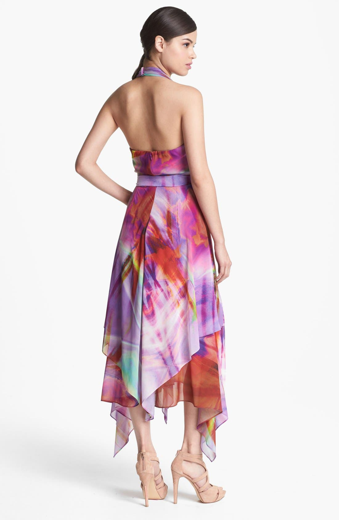 Alternate Image 2  - Suzi Chin for Maggy Boutique Layered Chiffon Print Halter Dress