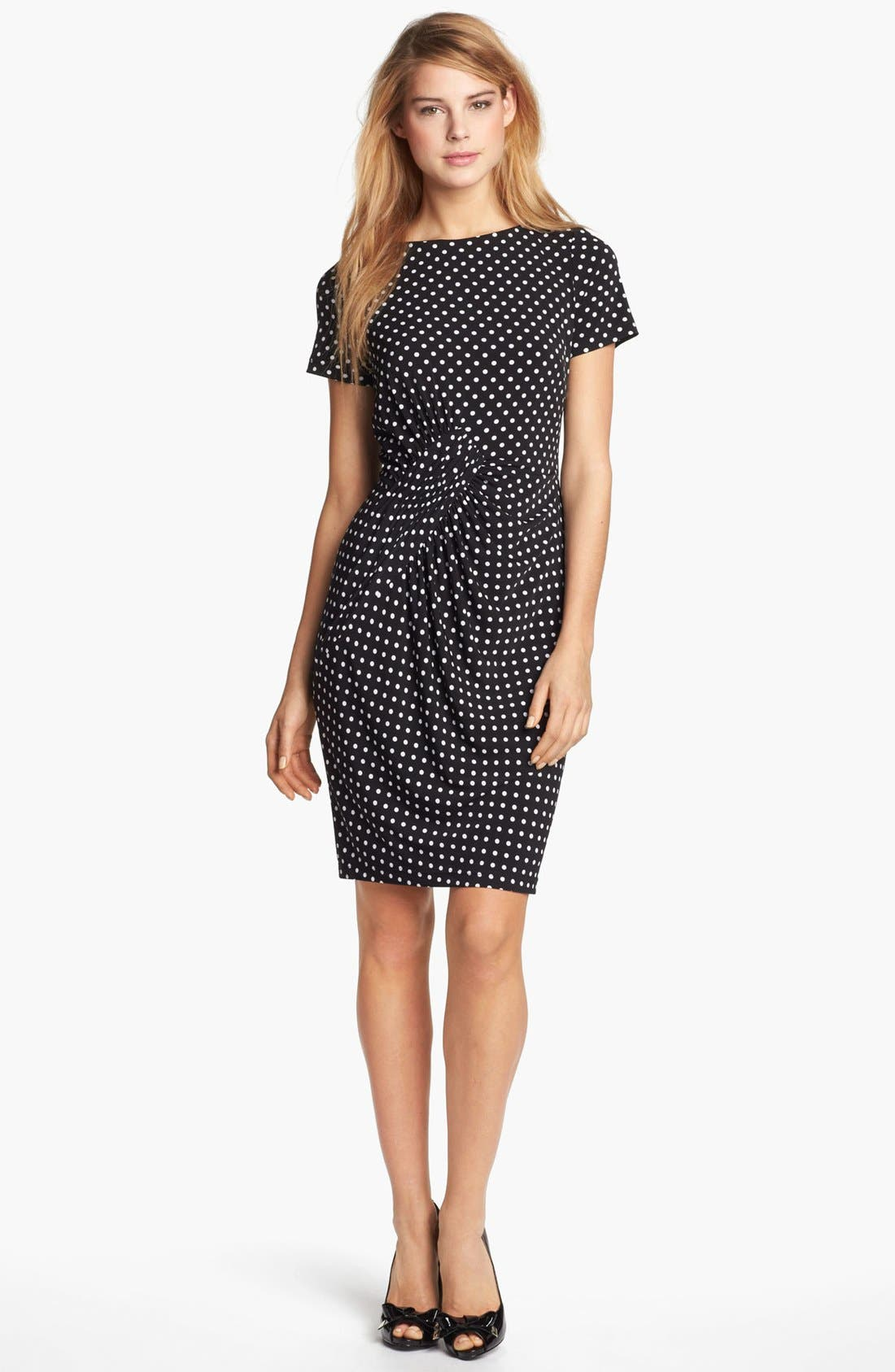 Alternate Image 1 Selected - Adrianna Papell Polka Dot Ruched Jersey Dress