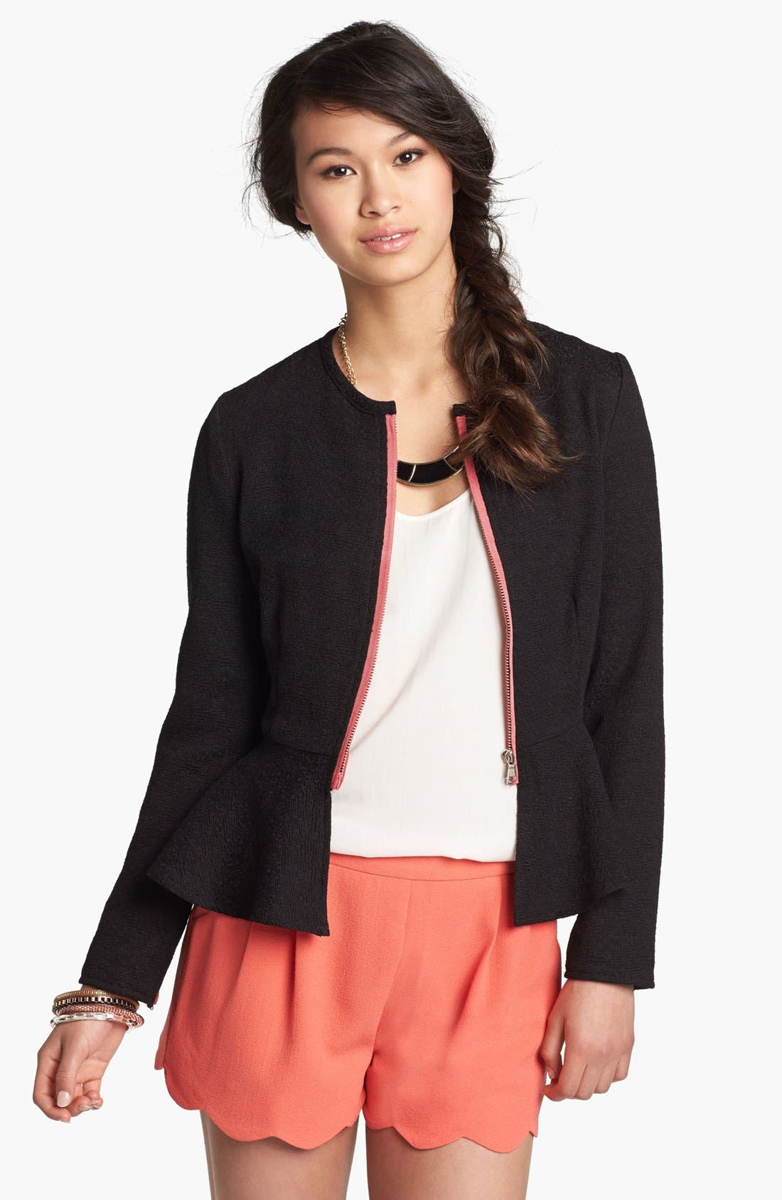 Alternate Image 1 Selected - B.C.N.U. Peplum Jacket (Juniors)