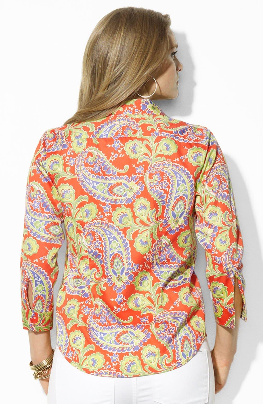 Alternate Image 2  - Lauren Ralph Lauren Paisley Print Cotton Shirt (Plus Size)