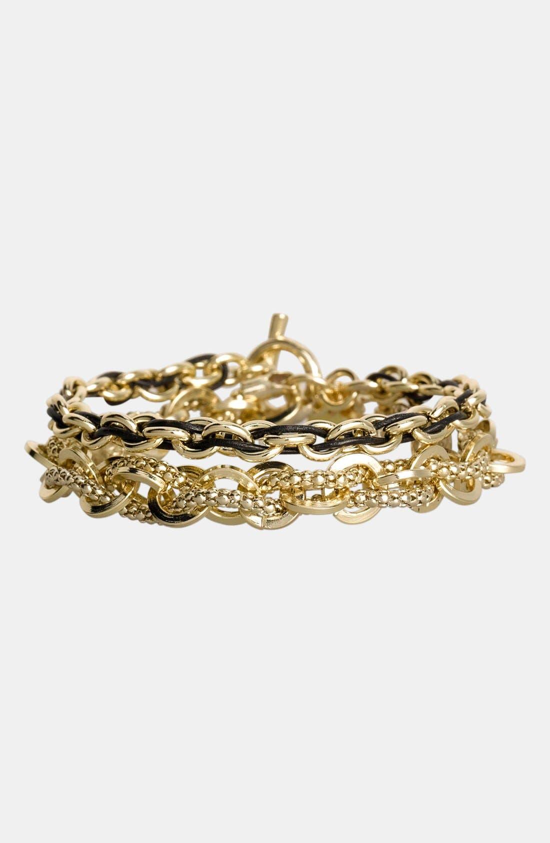 Alternate Image 2  - Cara Link & Leather Double Wrap Bracelet