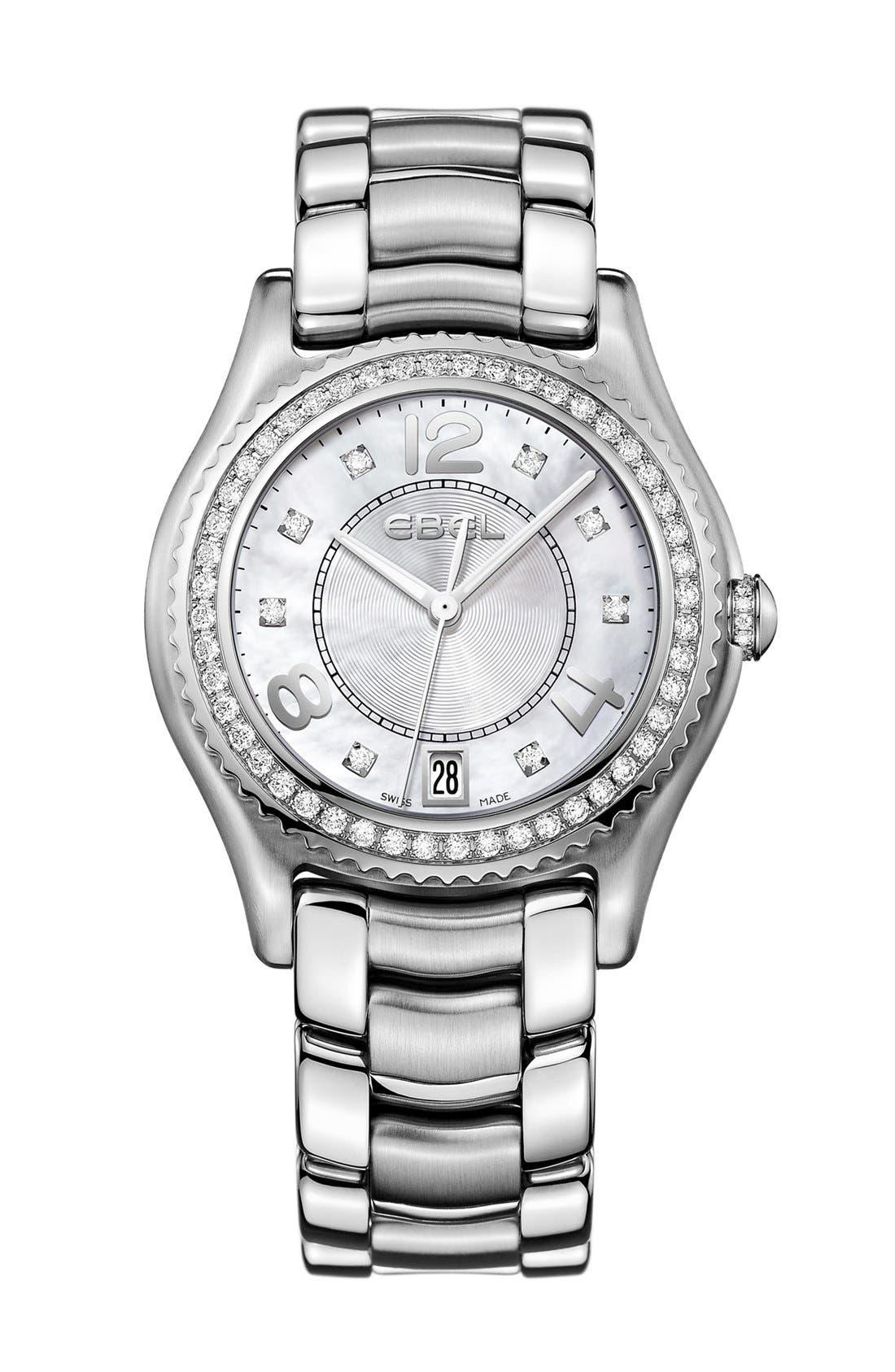 Alternate Image 1 Selected - EBEL 'X-1' Diamond Bracelet Watch, 34mm