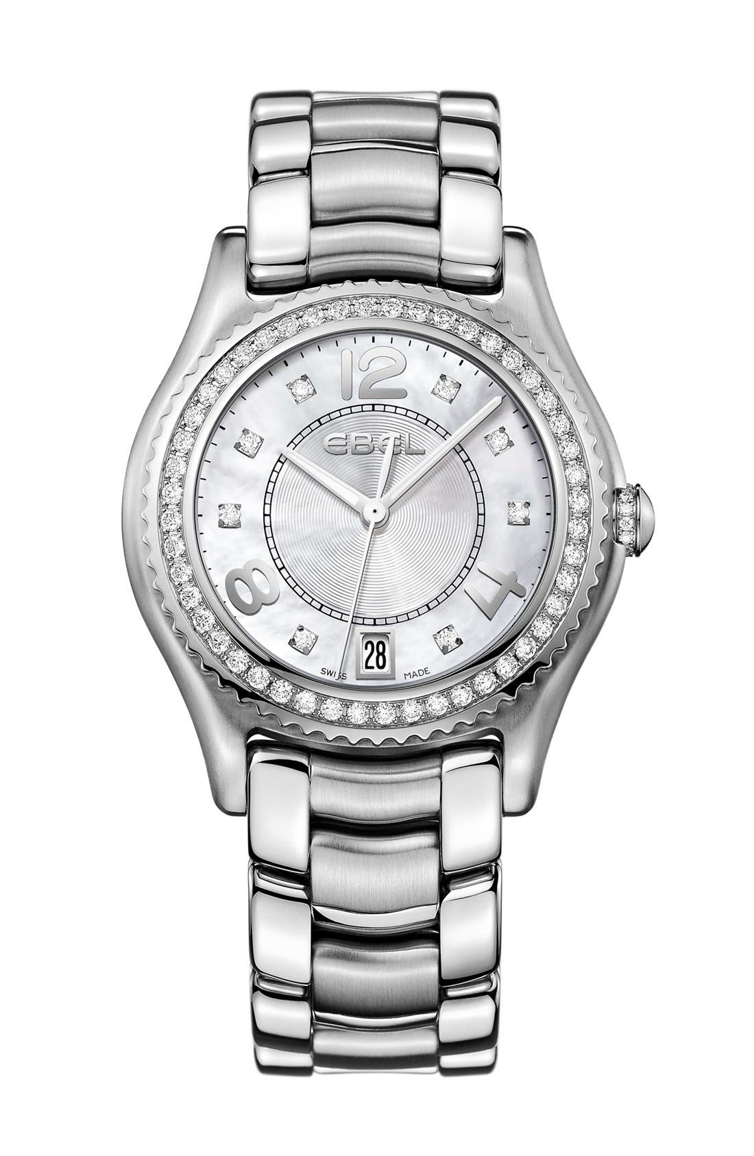 Main Image - EBEL 'X-1' Diamond Bracelet Watch, 34mm
