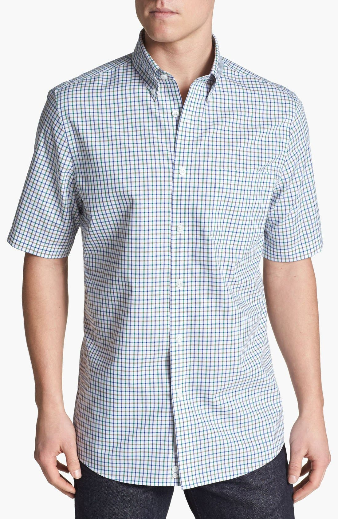 Alternate Image 1 Selected - Nordstrom Smartcare™ Short Sleeve Poplin Sport Shirt