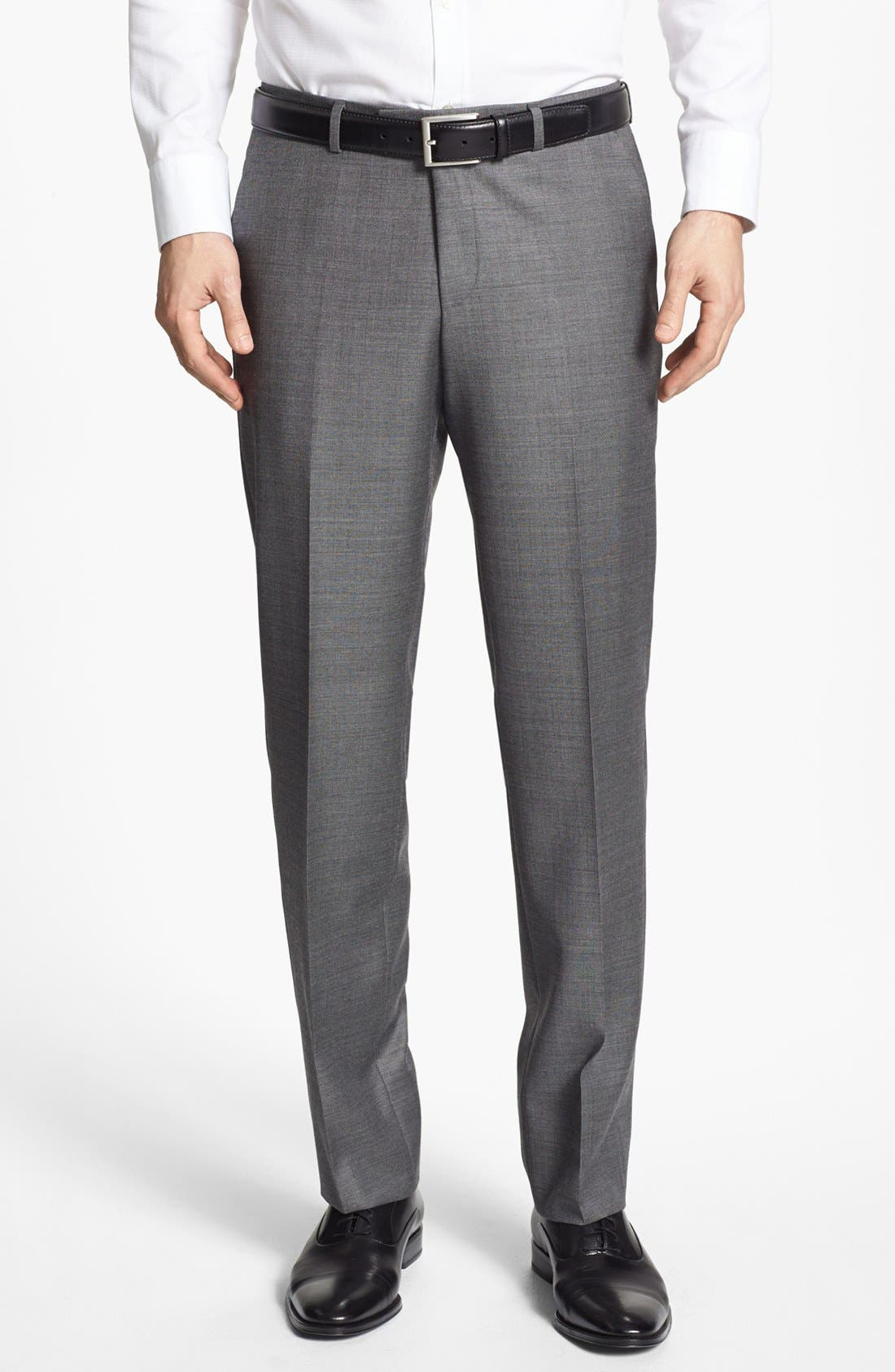 Main Image - BOSS HUGO BOSS 'Sharp' Flat Front Wool Trousers