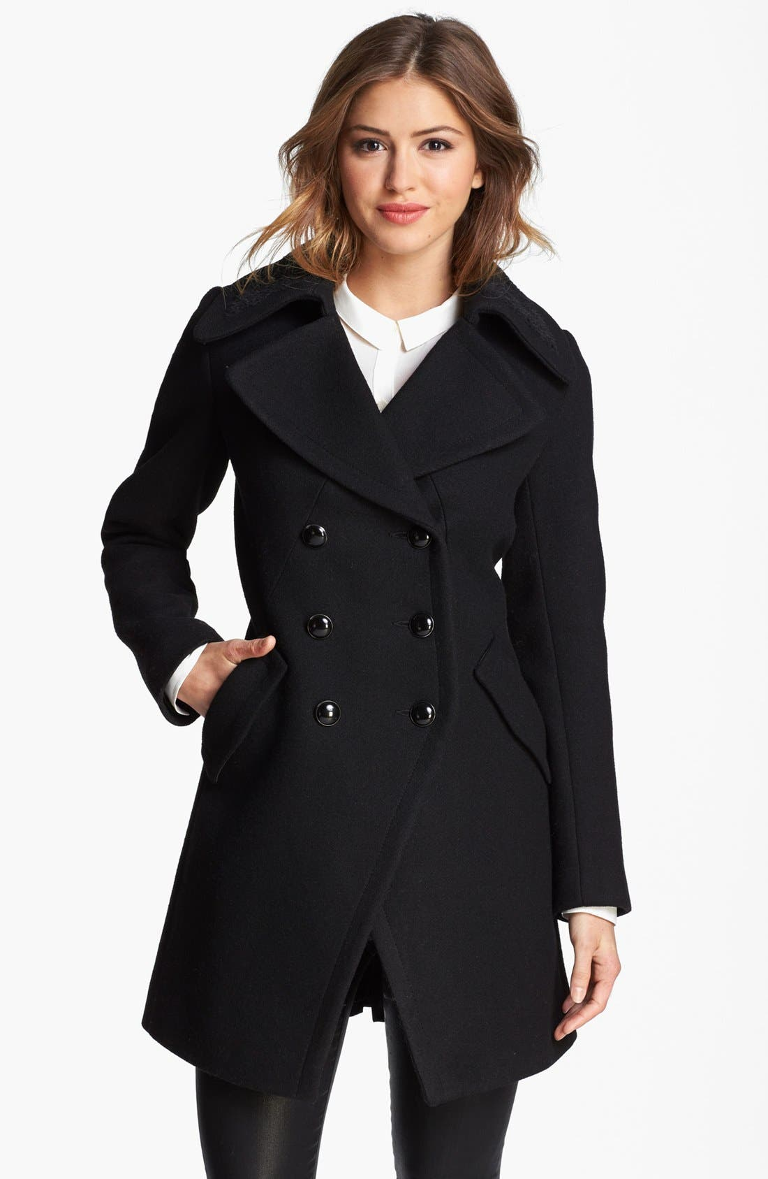 Double Breasted Officer's Coat,                         Main,                         color, Black