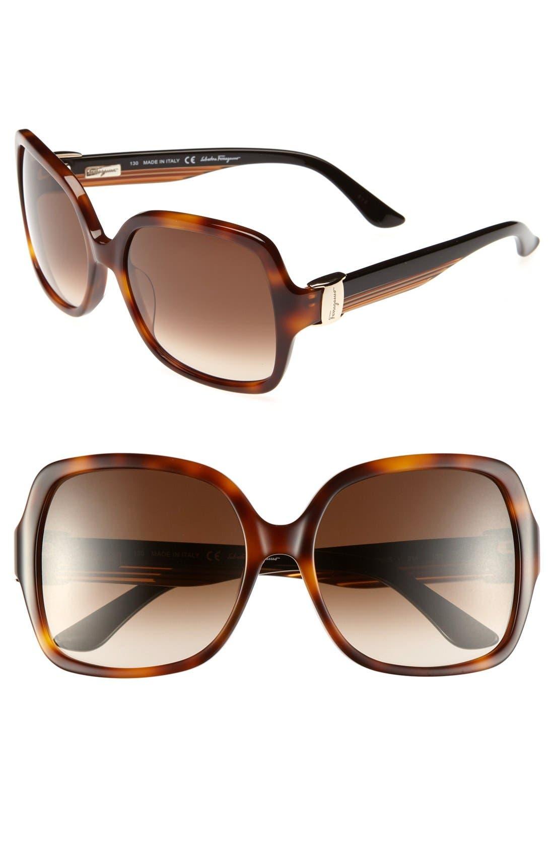 Main Image - Salvatore Ferragamo 56mm Oversized Sunglasses
