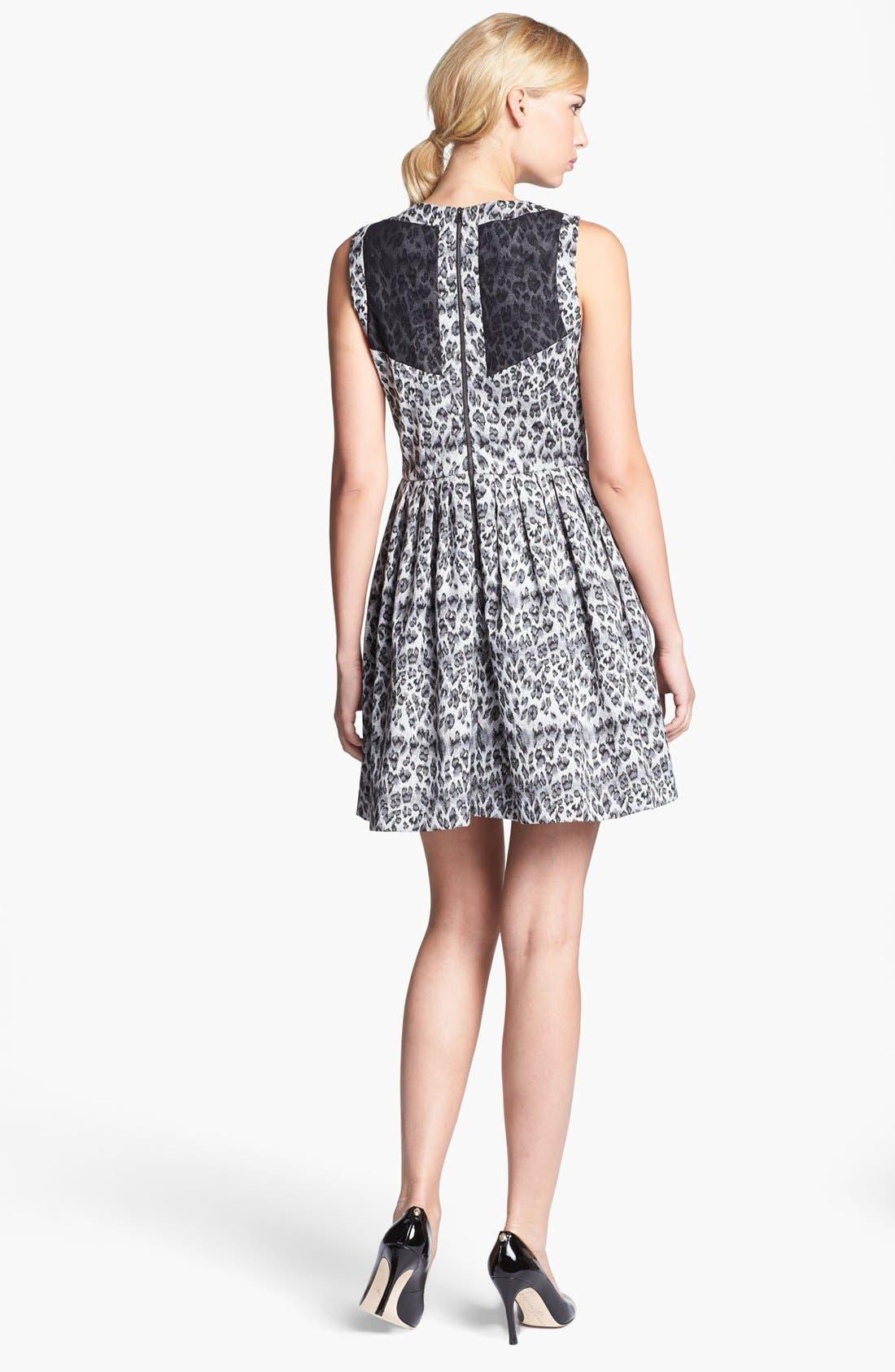 Alternate Image 3  - Taylor Dresses Sleeveless Jacquard Fit & Flare Dress (Regular & Petite)