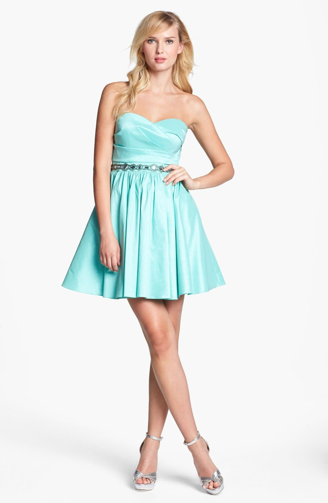Main Image - Aidan Mattox Strapless Bead Waist Dress (Online Only)